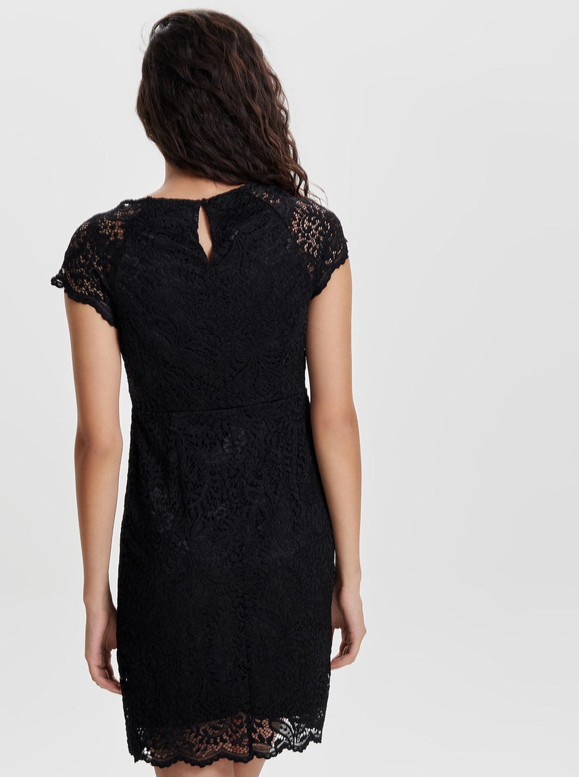 Čierne čipkované šaty s krátkym rukávom ONLY Shira ... ddf3225063f