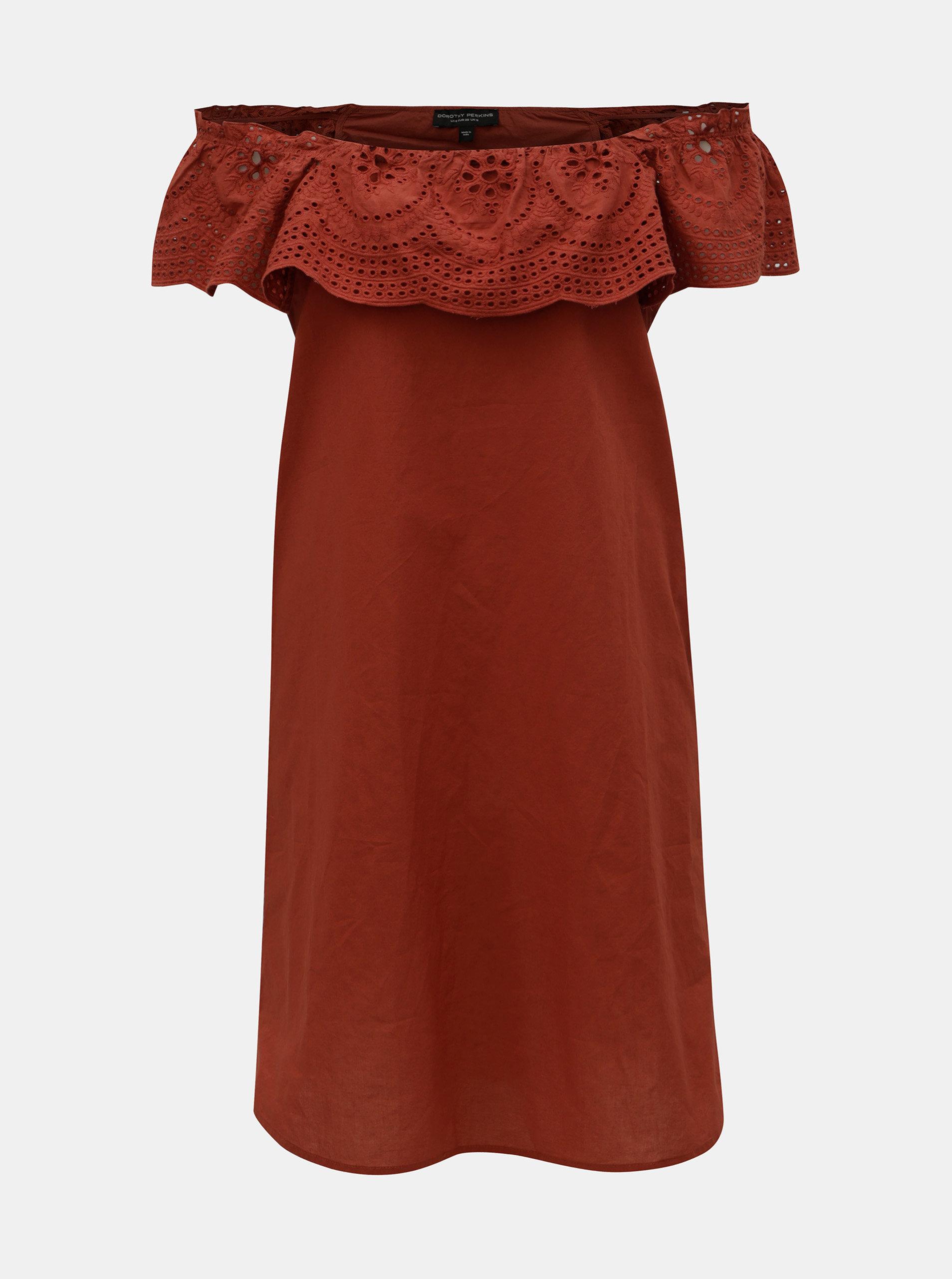 94210505961e Tehlové šaty s madeirou a odhalenými ramenami Dorothy Perkins ...