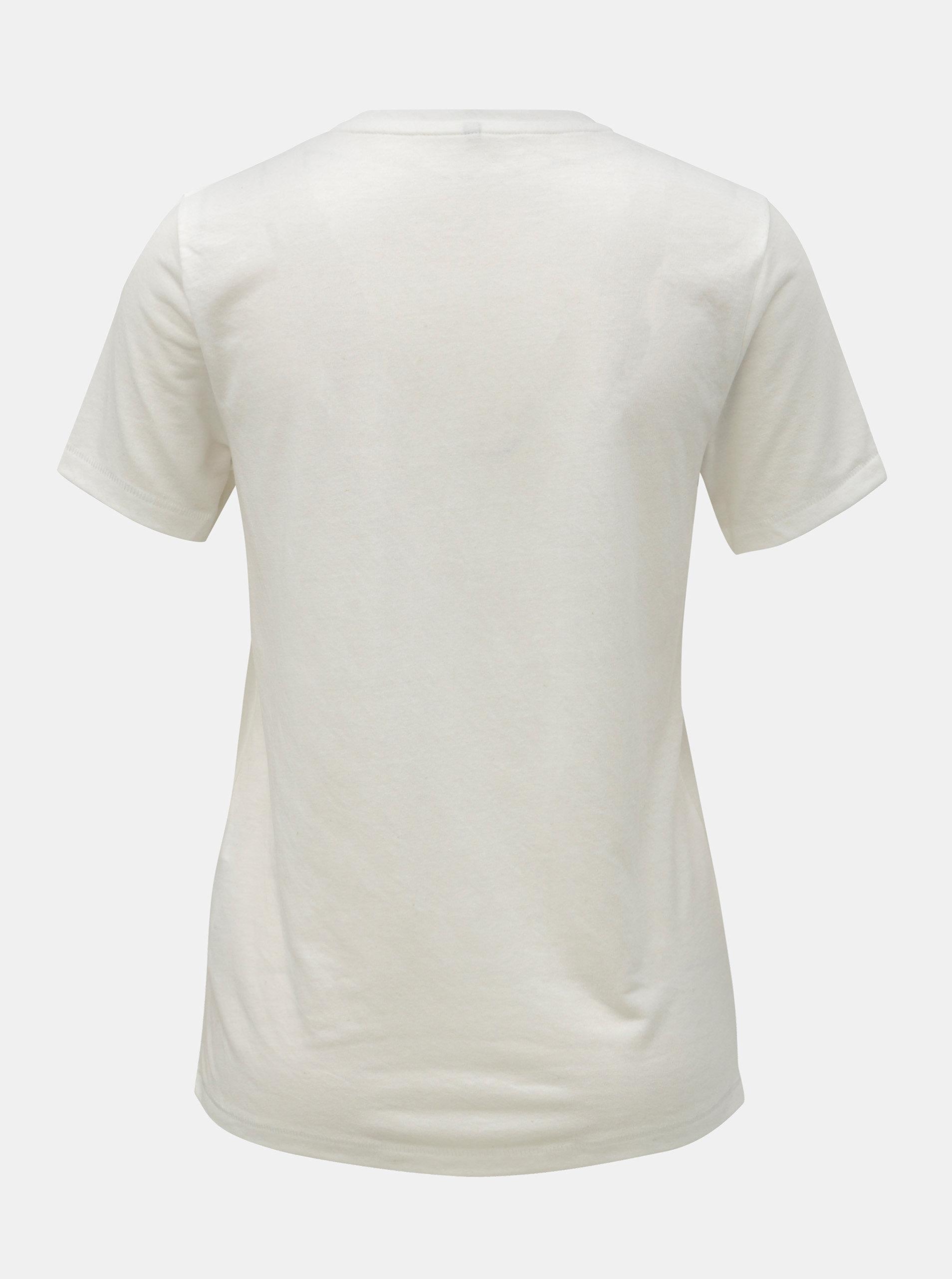 59acbbca92d4 Krémové tričko s flitrami a prímesou ľanu ONLY Lina ...