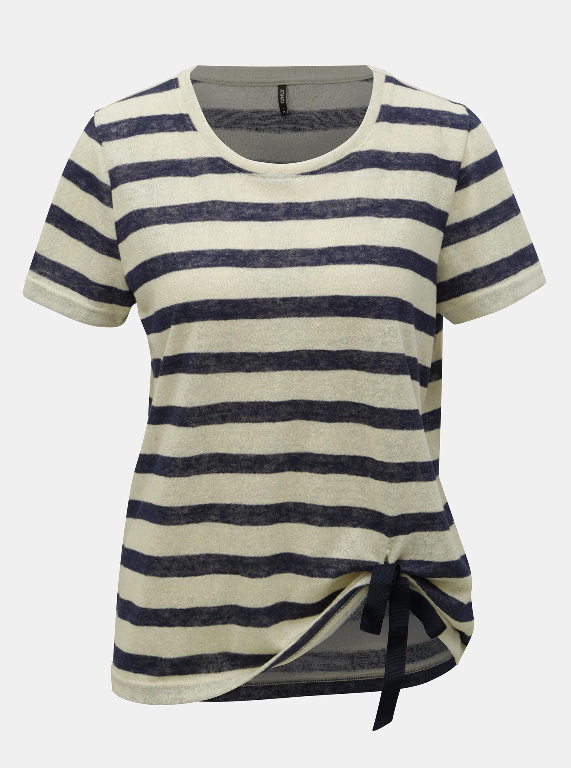 3de72d82d3e1 Modro–béžové pruhované tričko s mašľou ONLY Rill ...