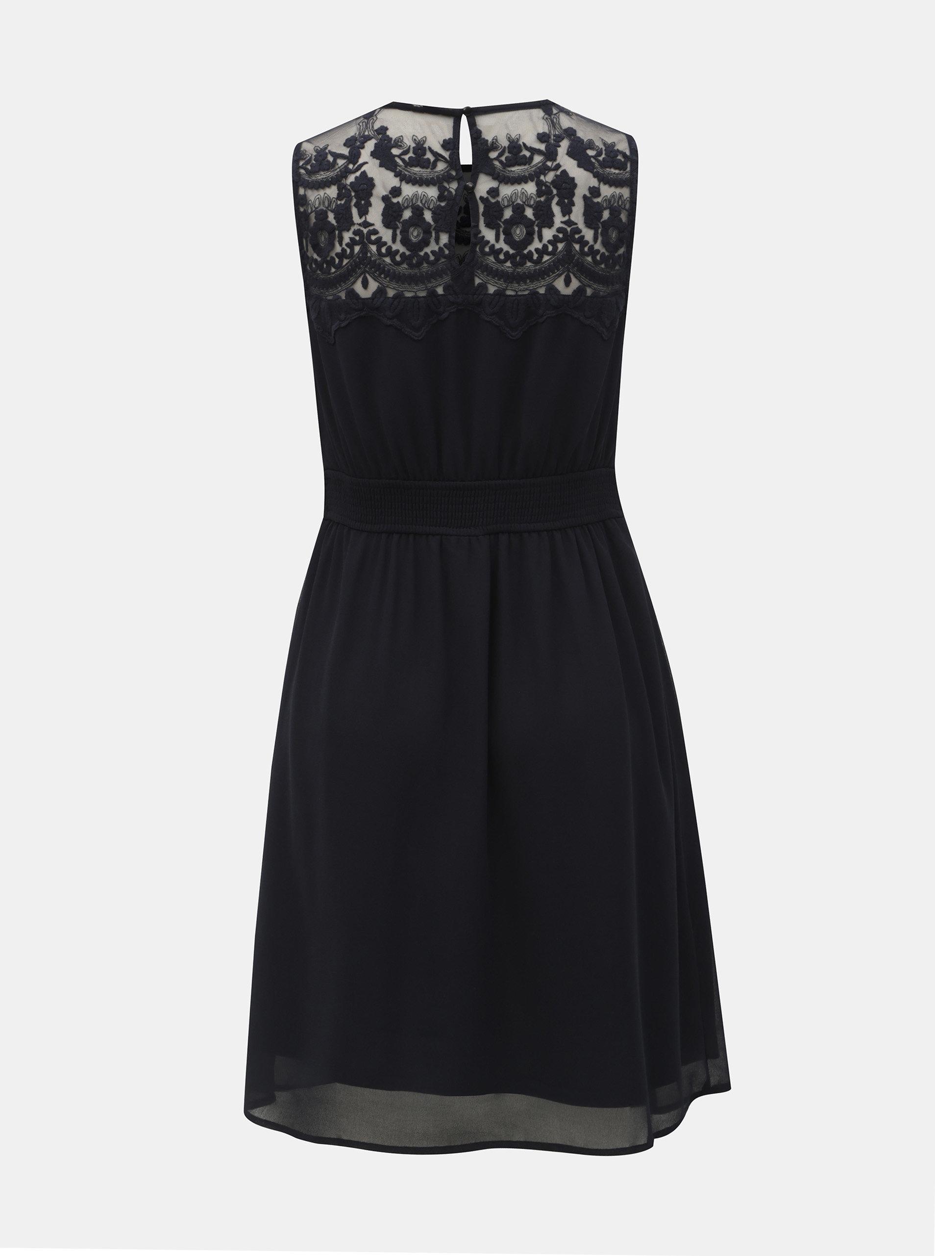 aeac68639439 Tmavomodré šaty s čipkou VERO MODA Vanessa ...