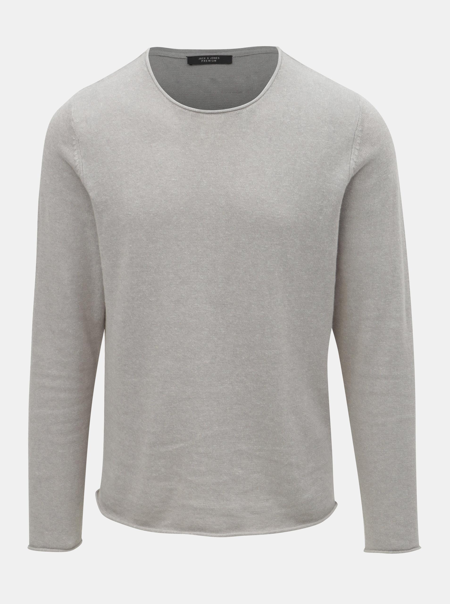 3e85e1cde0ba Svetlosivý ľanový sveter Jack   Jones Linen ...
