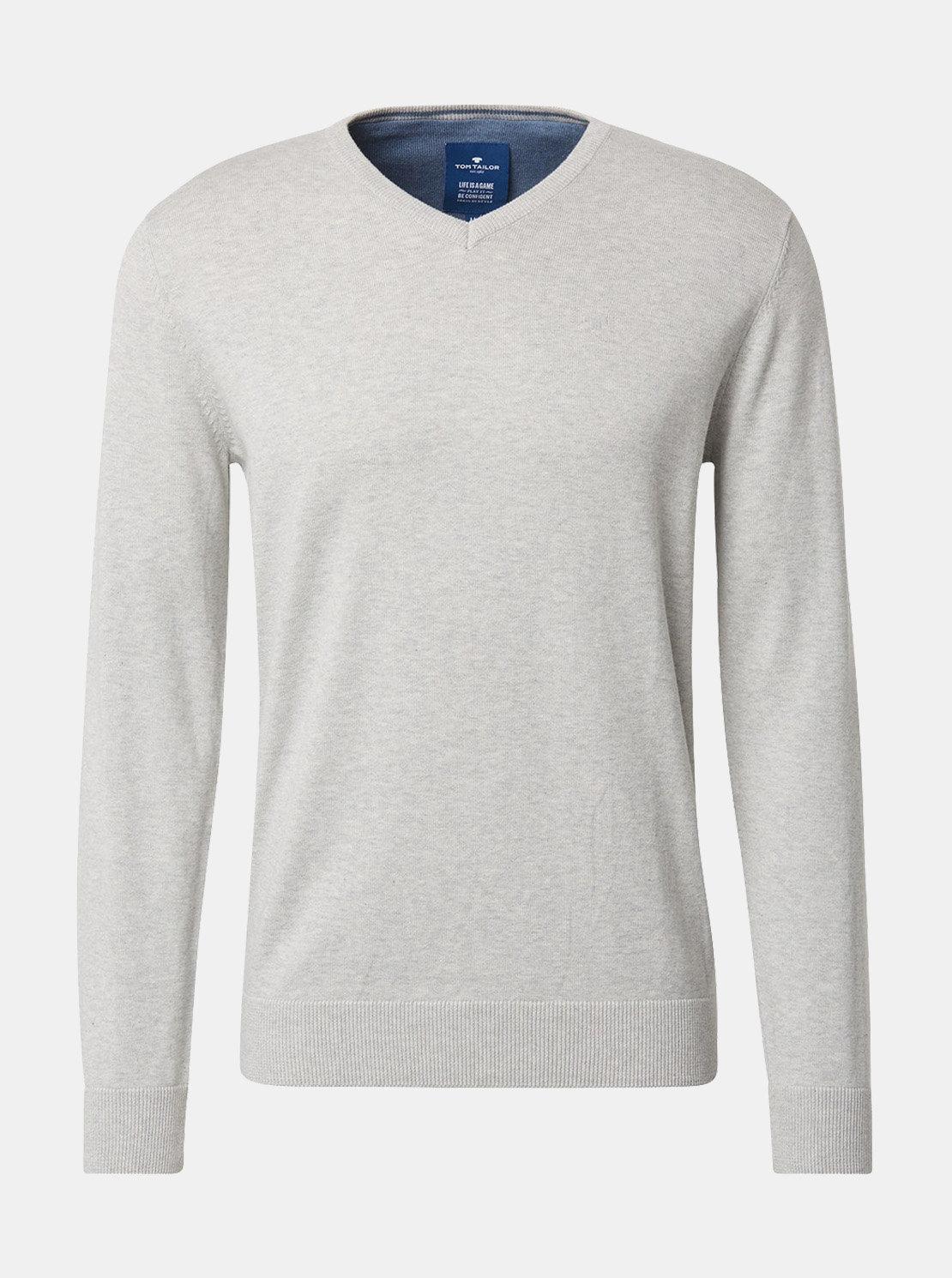 3824d9ec0c3c Svetlosivý pánsky melírovaný sveter Tom Tailor ...