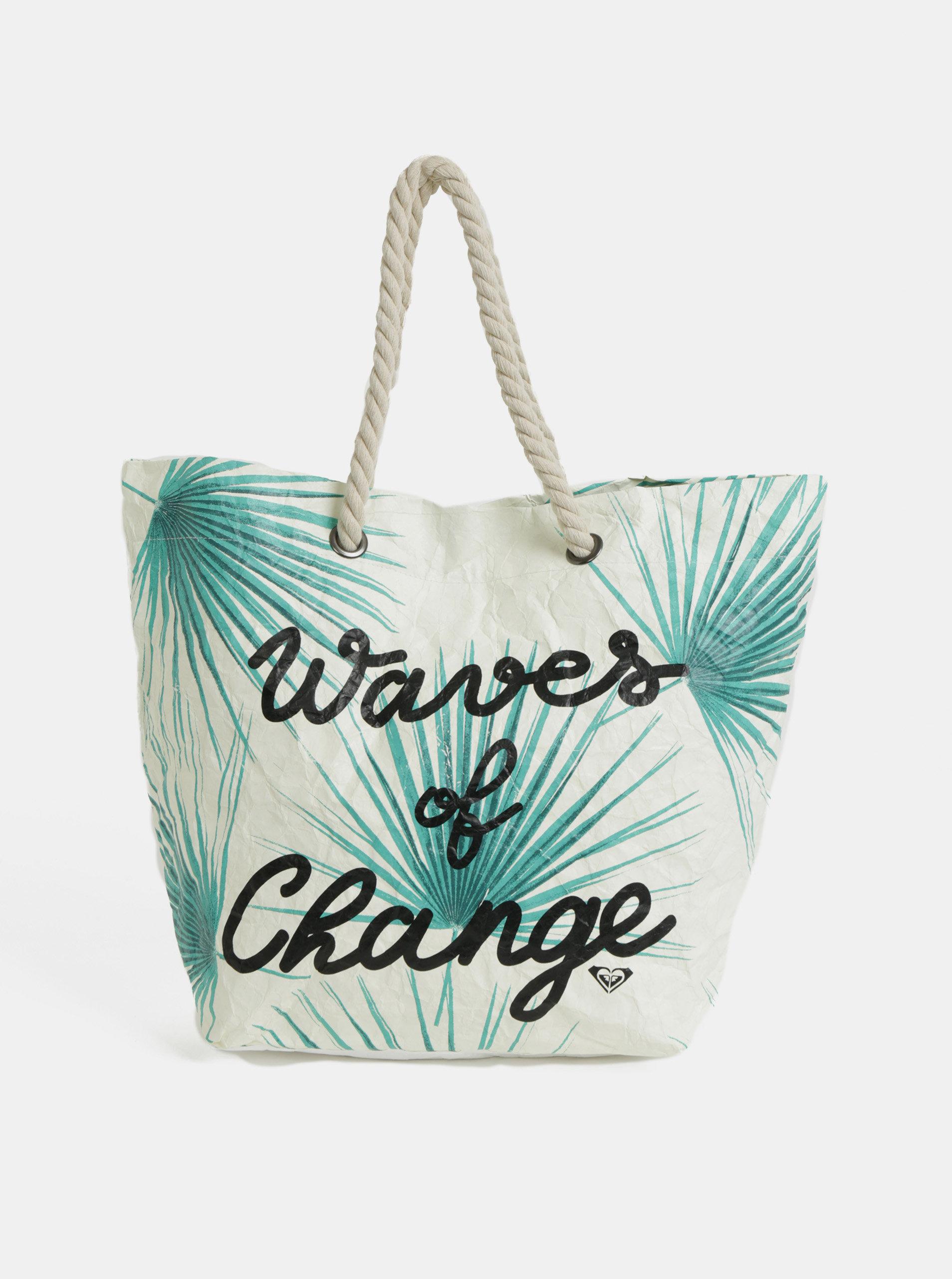 Krémová papírová plážová taška s tropickým vzorem Roxy Waves of Change