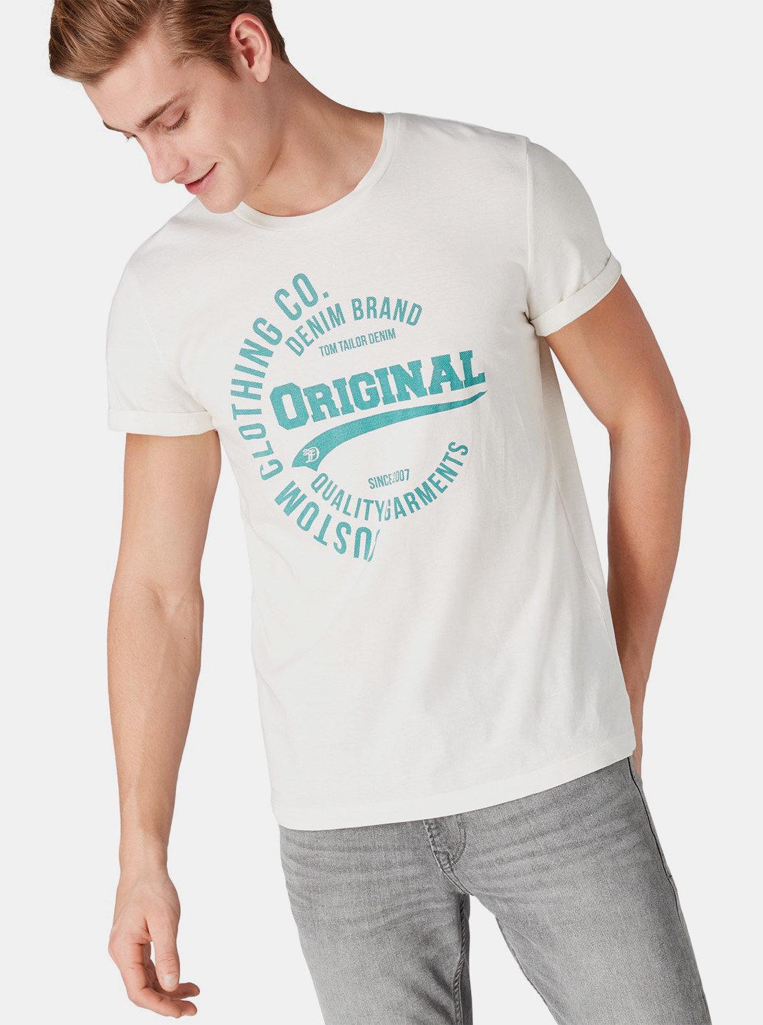 d1f96faa2adf Krémové pánske tričko s potlačou Tom Tailor Denim ...
