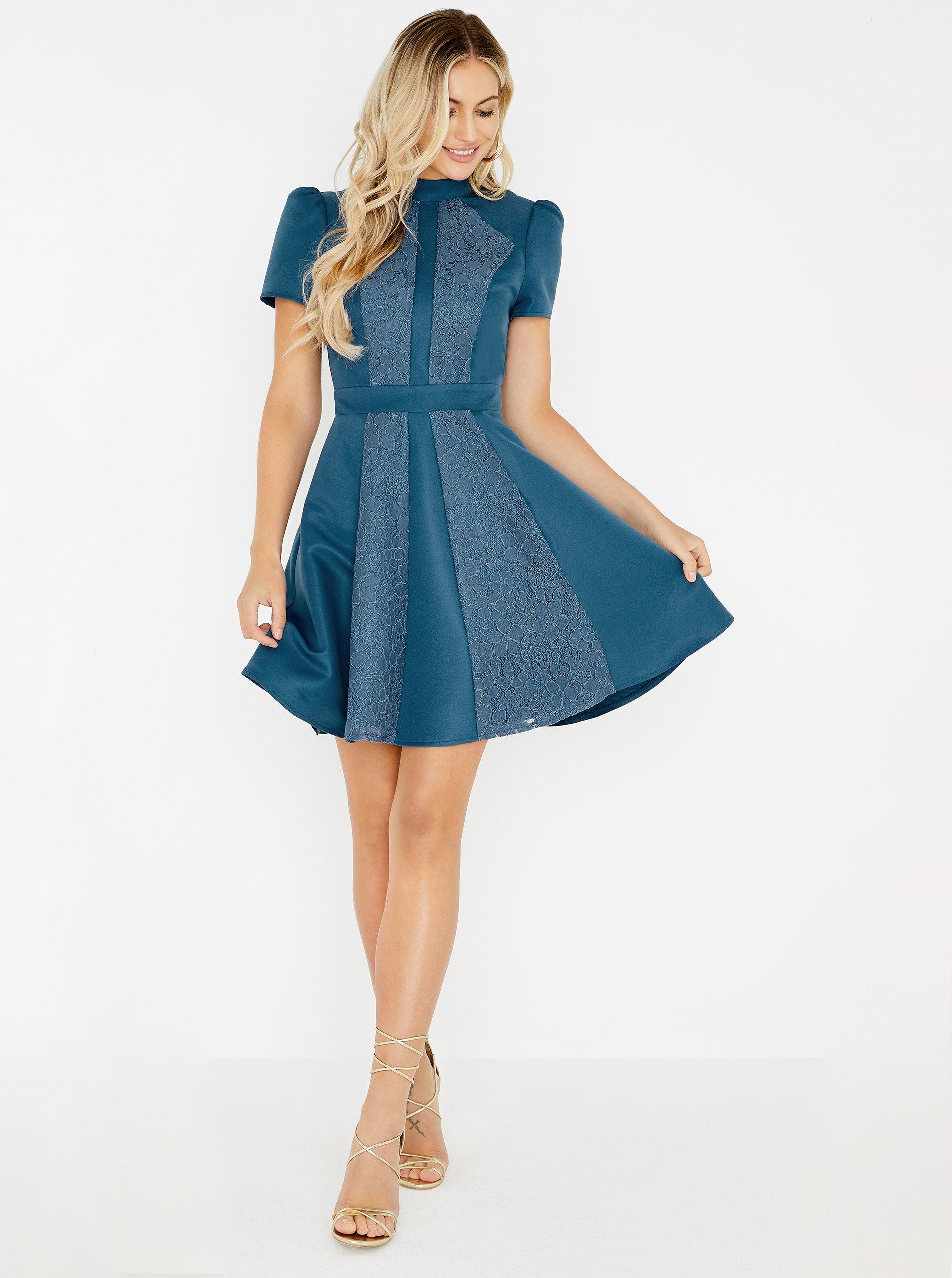 d5fc8b63f58c Modré šaty s čipkou Little Mistress ...
