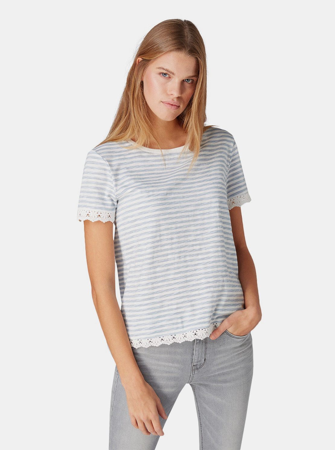 805f80003991 Modro–biele dámske pruhované tričko s čipkou Tom Tailor Denim ...