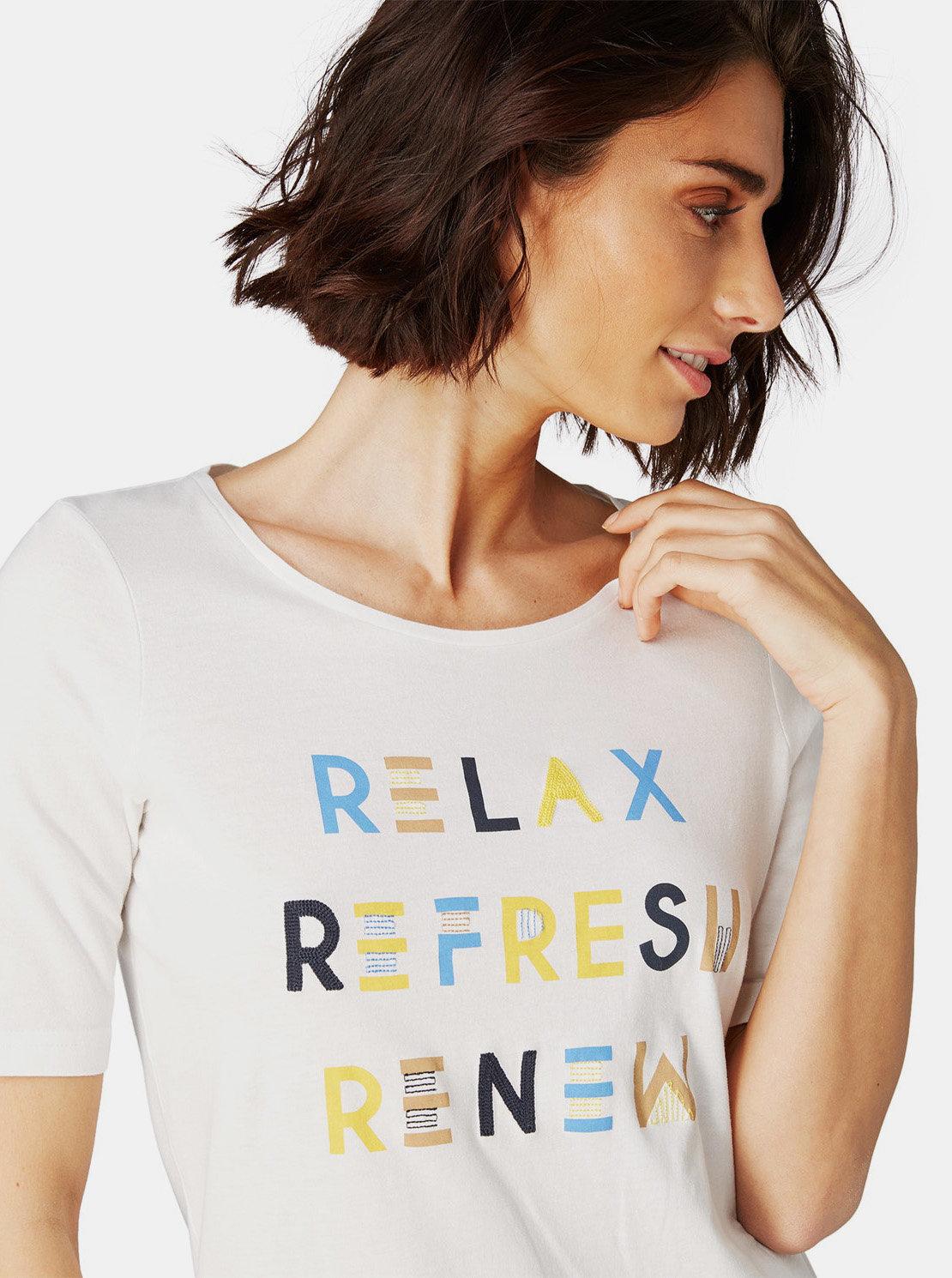 53befecdf298 Krémové dámske tričko s potlačou Tom Tailor ...