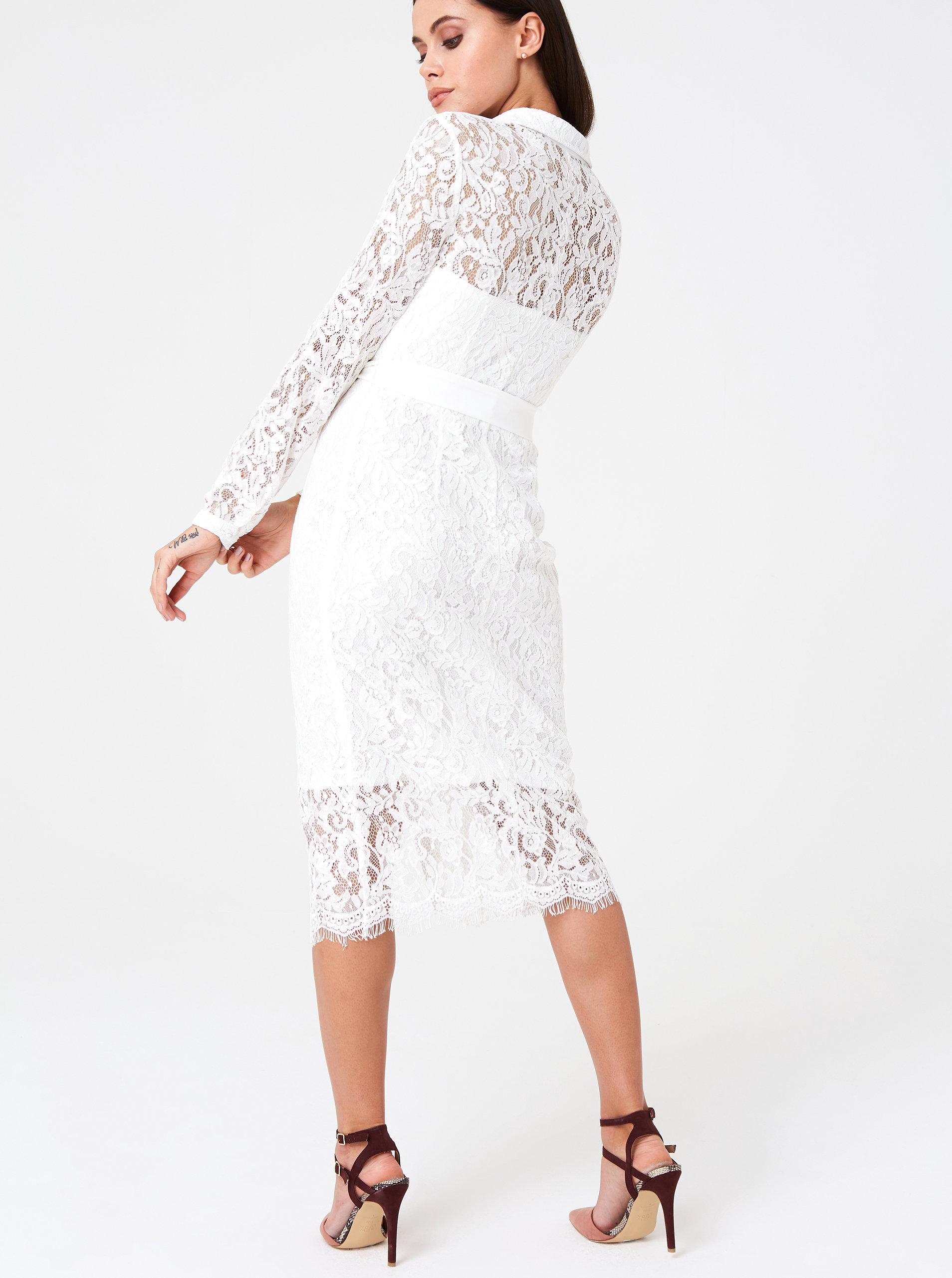 ed64ef572d83 Bílé krajkové košilové šaty Paper Dolls ...