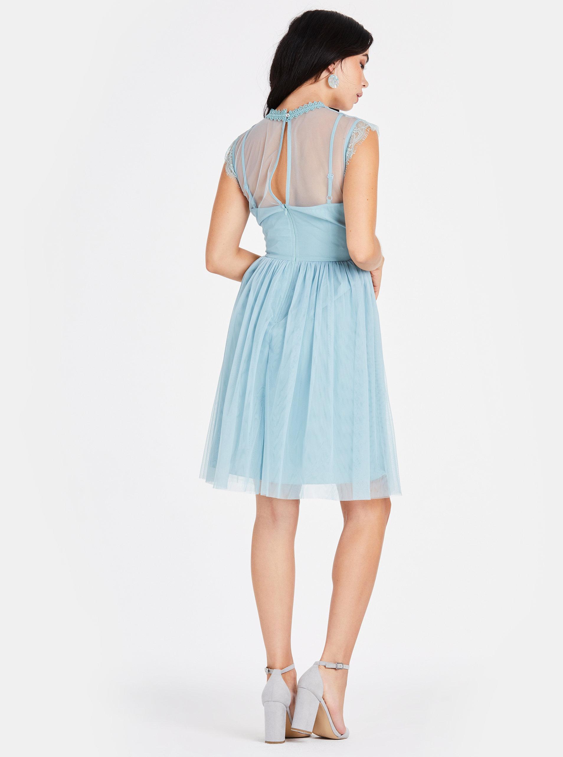5283eda54b3c Svetlomodré šaty s čipkovaným topom Little Mistress ...
