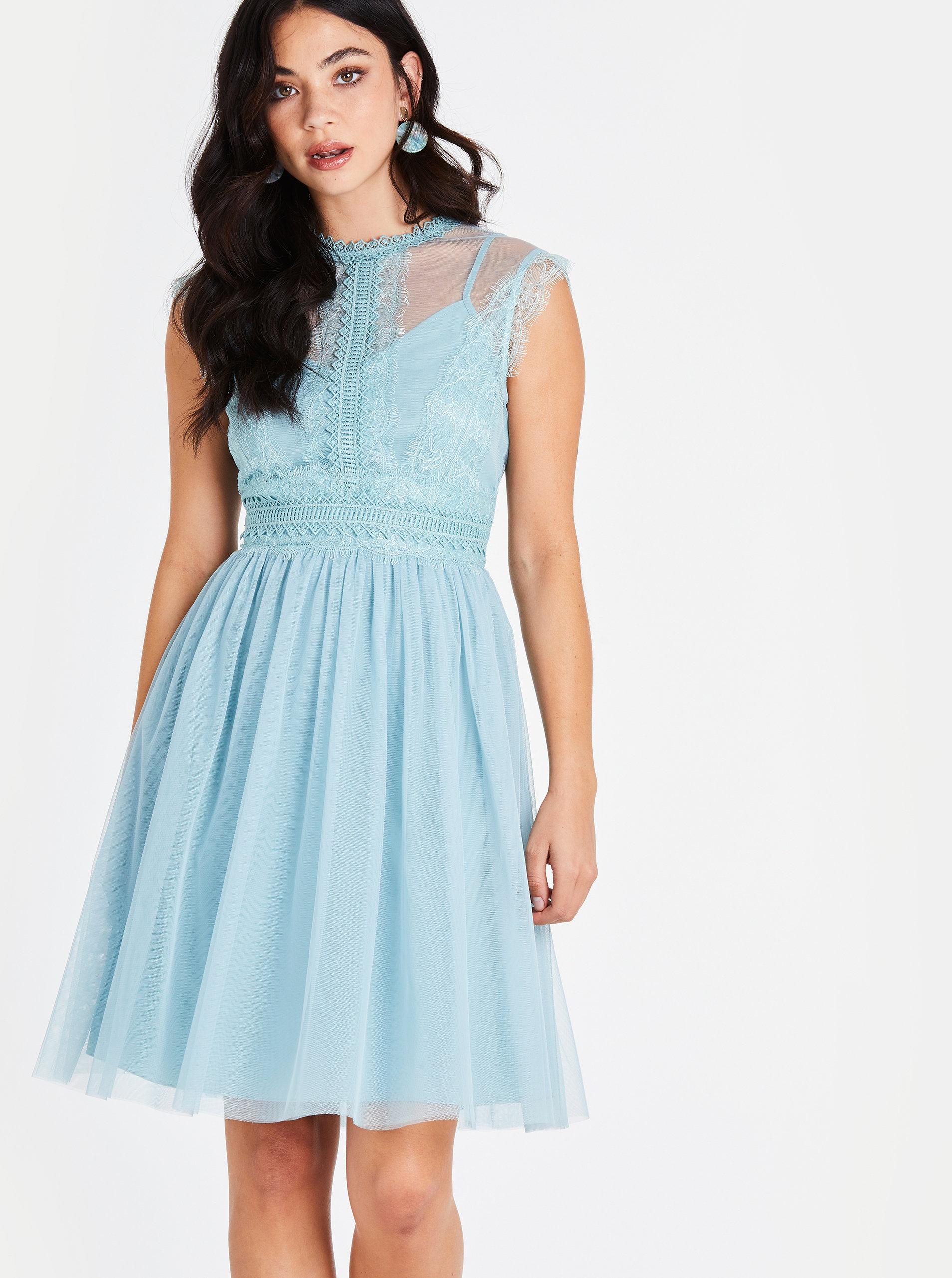 06a57c2d850a Svetlomodré šaty s čipkovaným topom Little Mistress ...