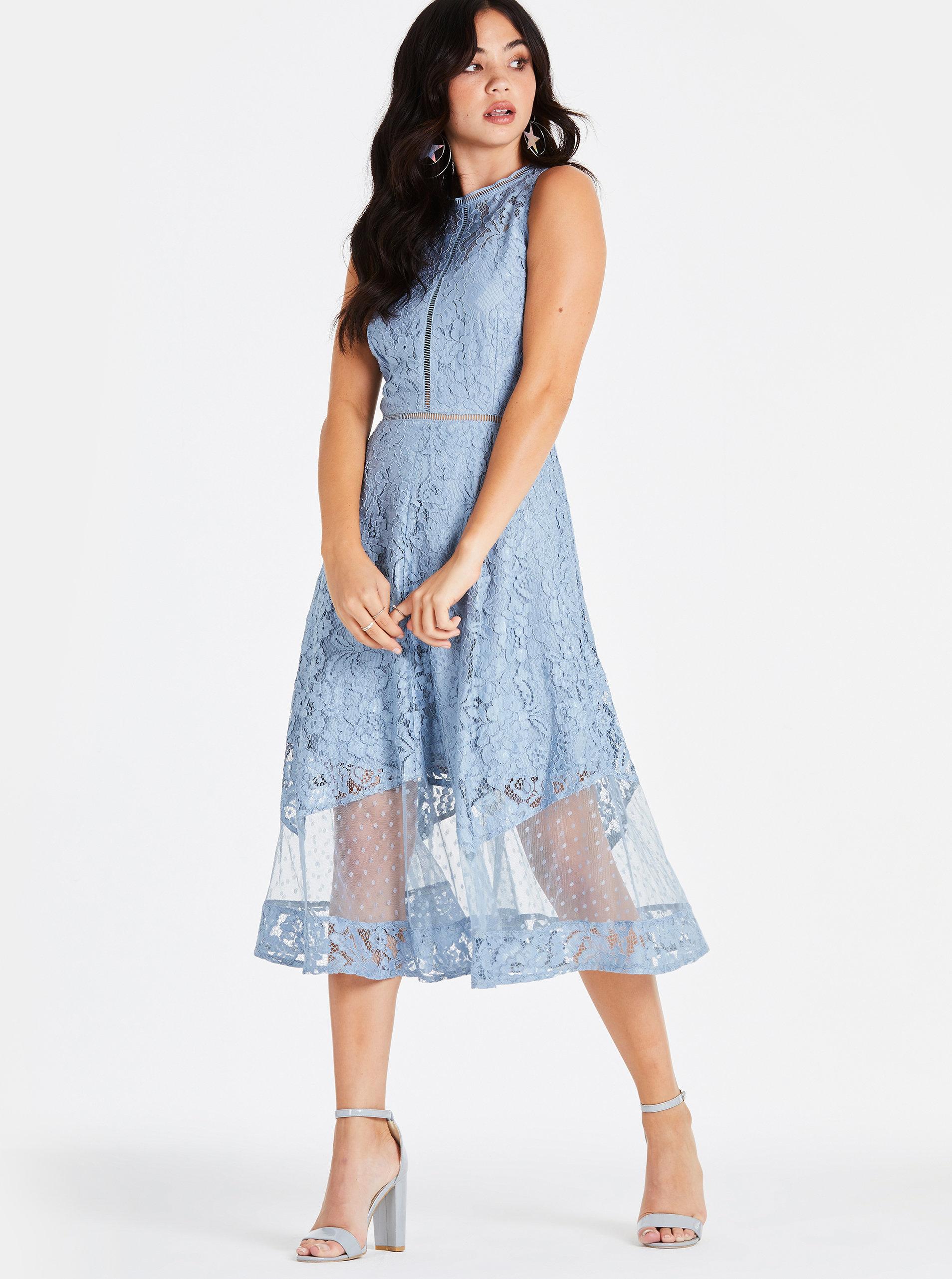 0843ad2cd104 Modré čipkované midišaty Little Mistress ...
