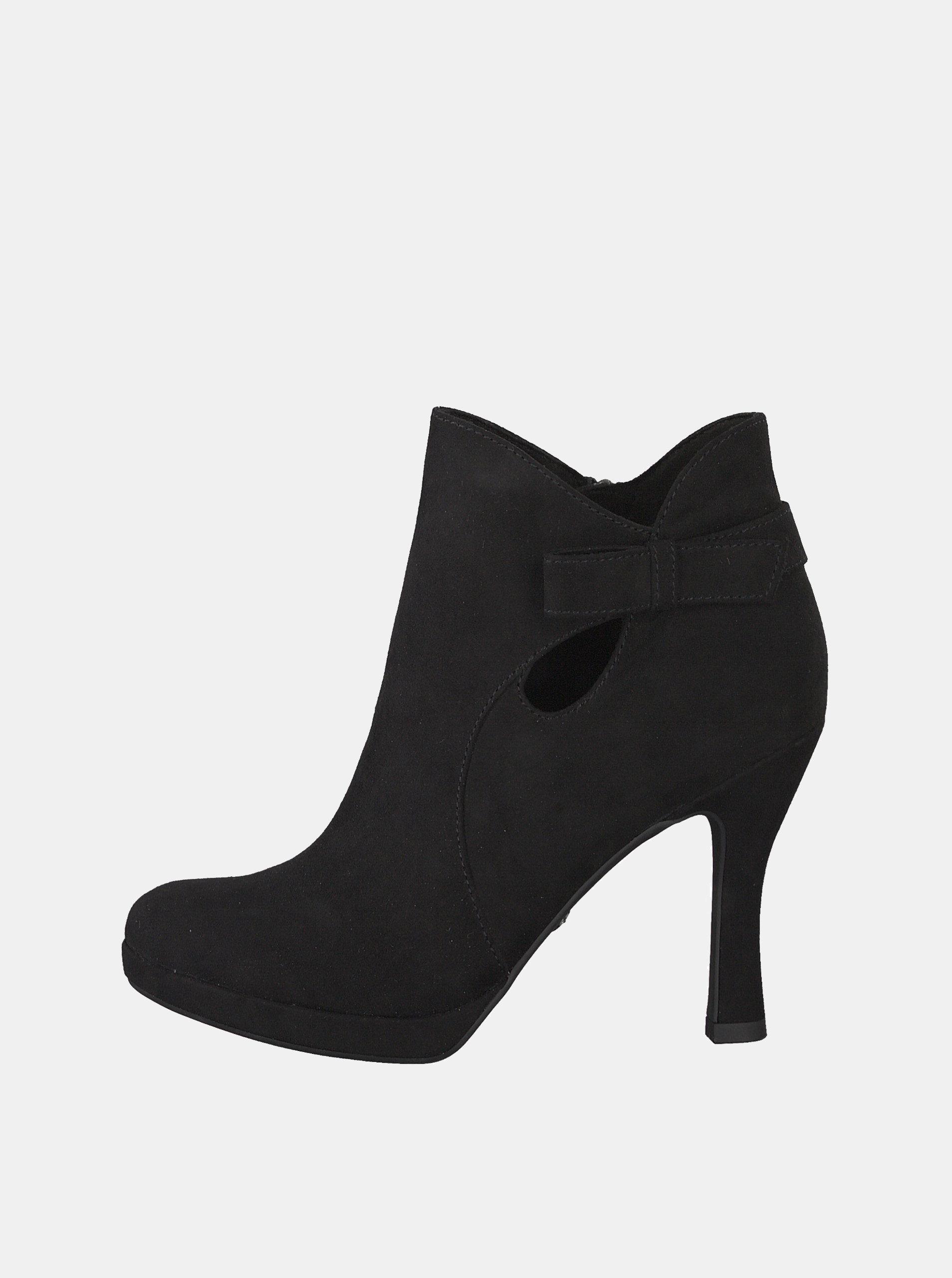 625506a05b7e Čierne členkové topánky v semišovej úprave Tamaris ...