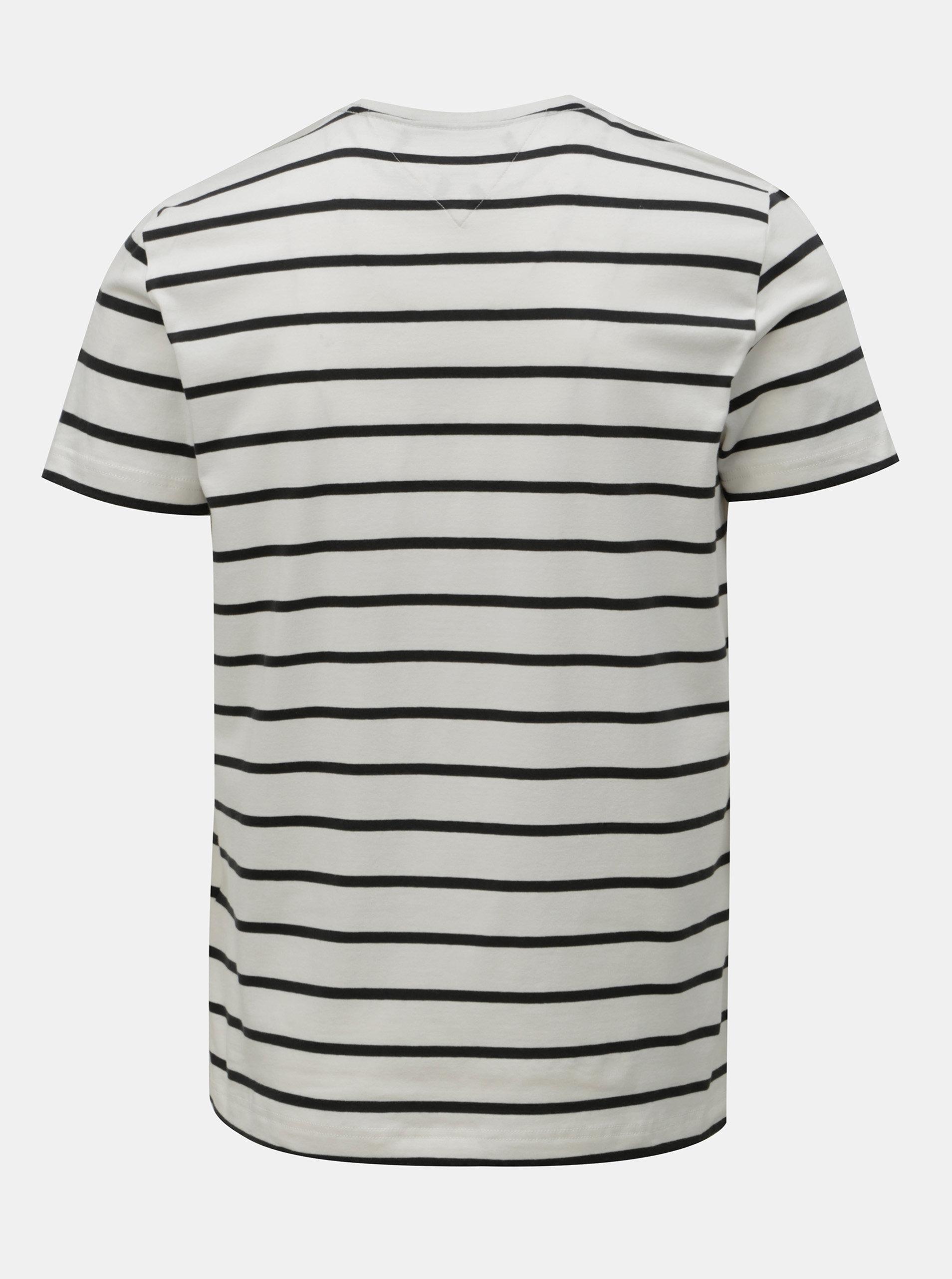 80e1b114c245 Černo-bílé pánské pruhované slim fit tričko Tommy Hilfiger ...