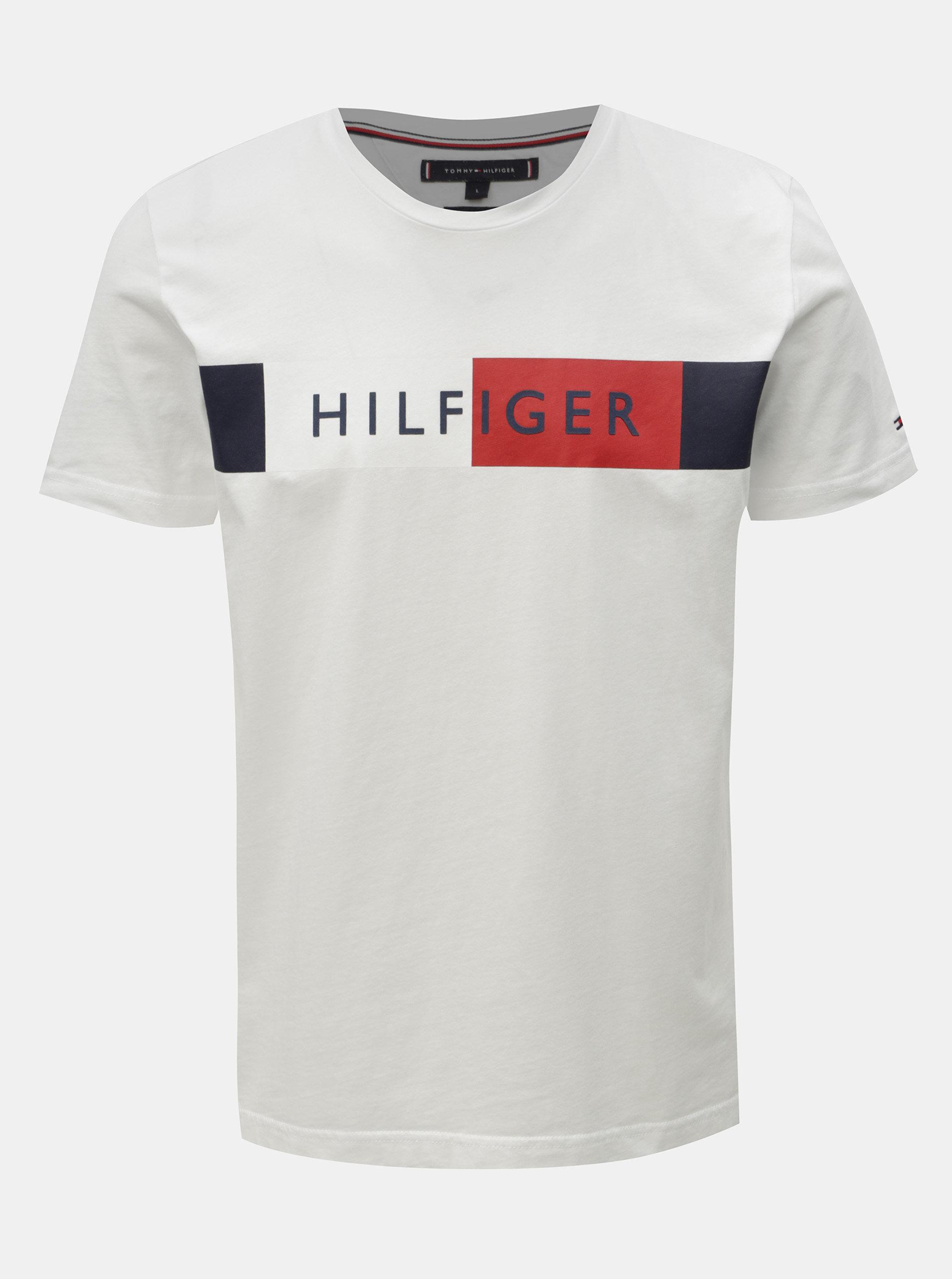 8bf0b9f3e1 Biele pánske tričko s potlačou Tommy Hilfiger ...