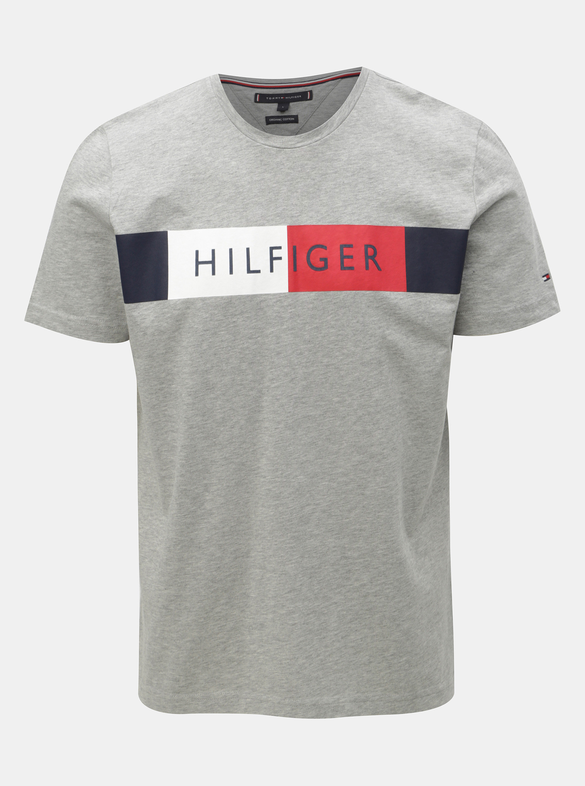 bf3db2d5ef27 Sivé pánske melírované tričko s potlačou Tommy Hilfiger ...