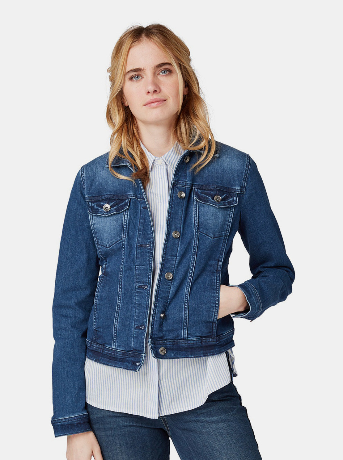 6829b4cffee4 Modrá dámská džínová bunda Tom Tailor ...