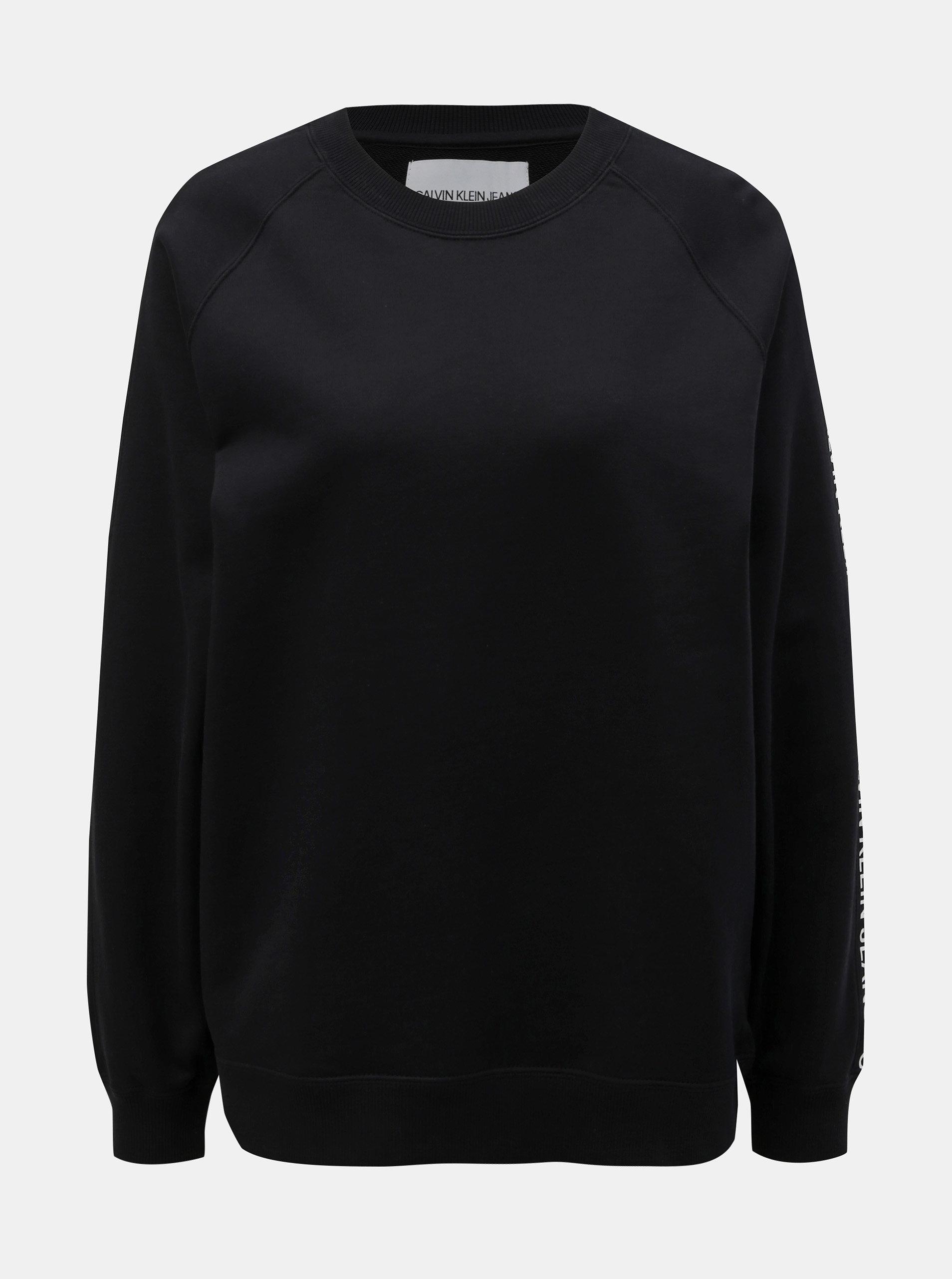 e433be0cb6 Černá dámská mikina s potiskem na rukávech Calvin Klein Jeans ...