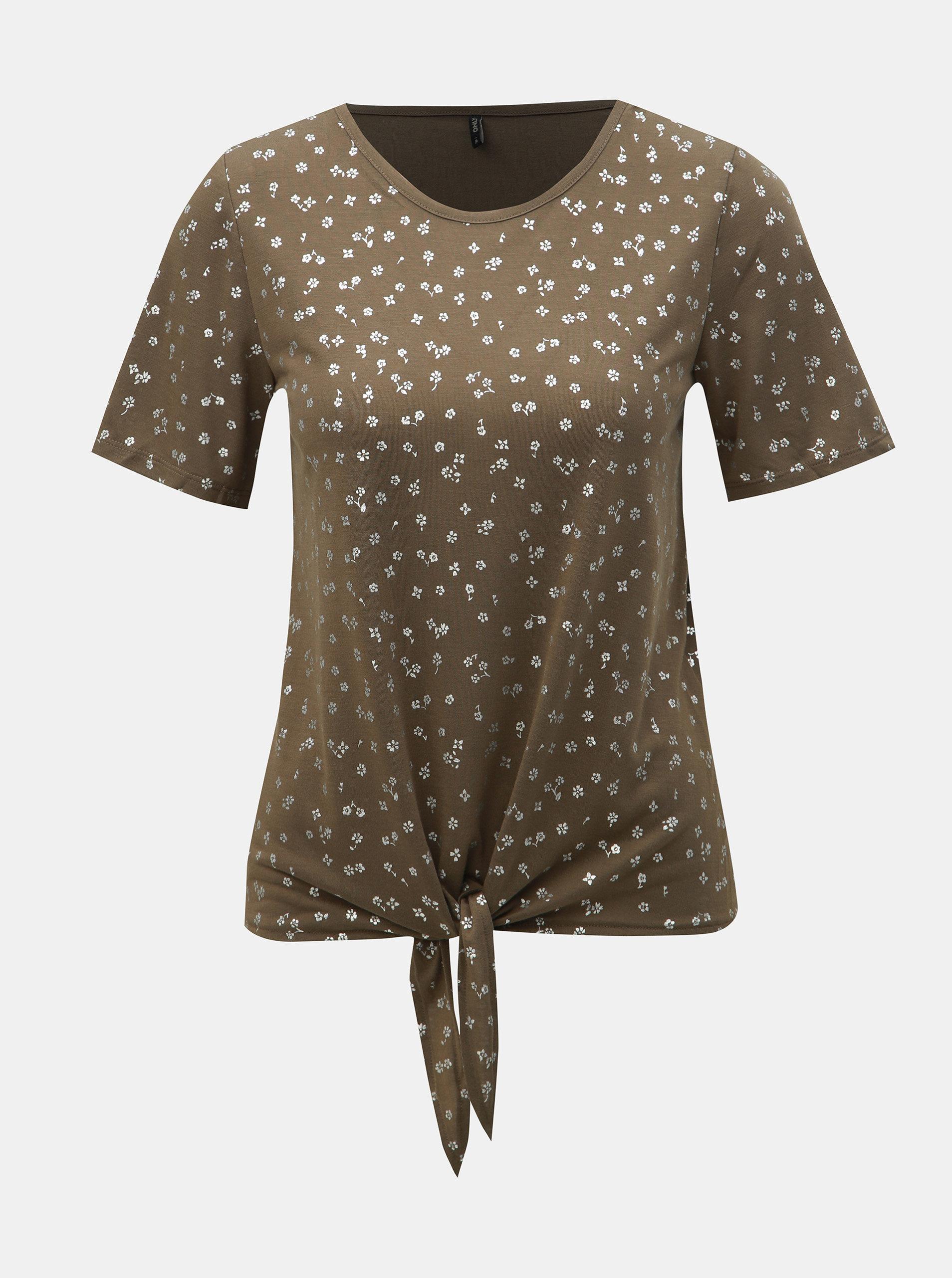 Khaki květované tričko s uzlem ONLY Isabella