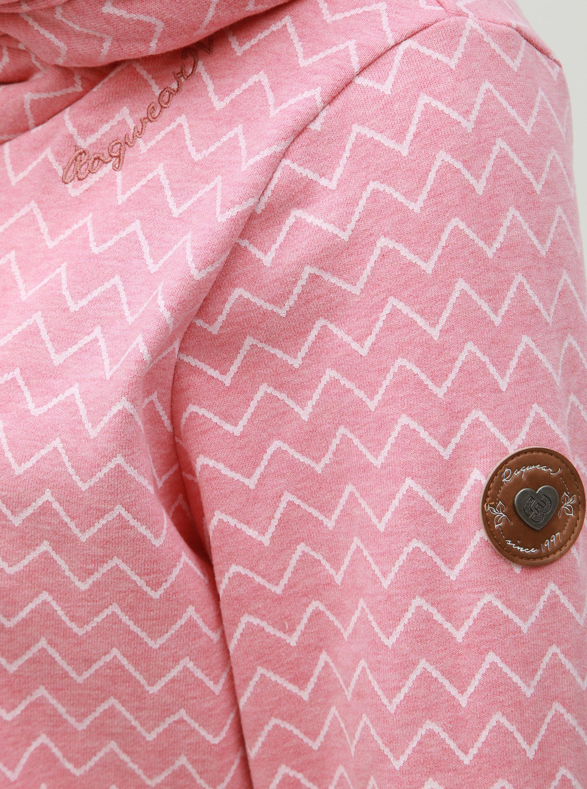 f4c1936dadc6 Ružová dámska vzorovaná dlhá mikina Ragwear Lilah Zig Zag ...