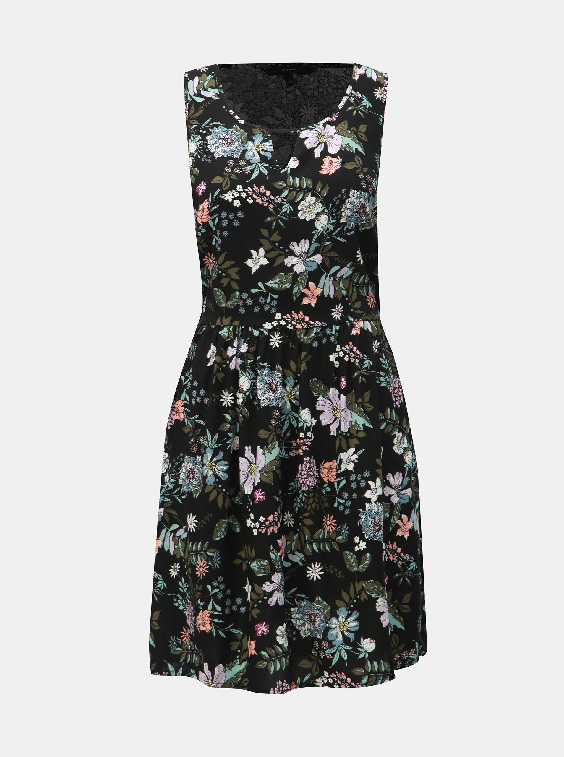 d341db6065f0 Černé květované šaty VERO MODA Simply ...