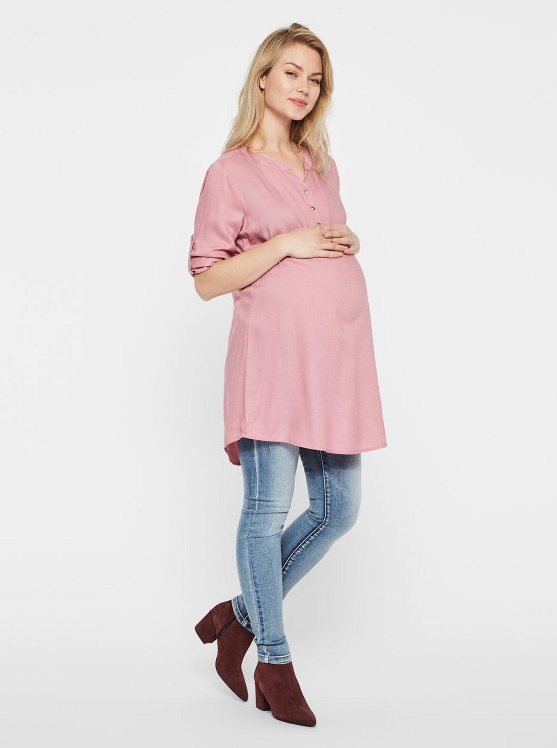 667599e86d0b Růžová těhotenská tunika s 3 4 rukávem Mama.licious Mercy ...