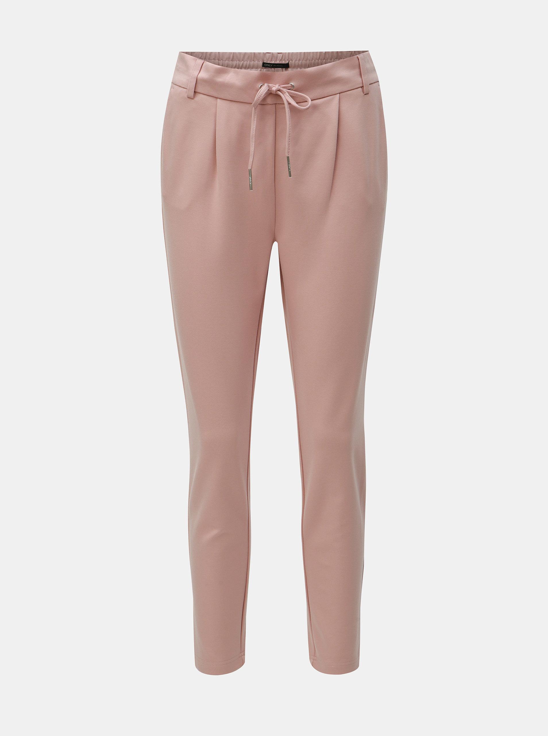 Světle růžové kalhoty s vysokým pasem ONLY Poptrash