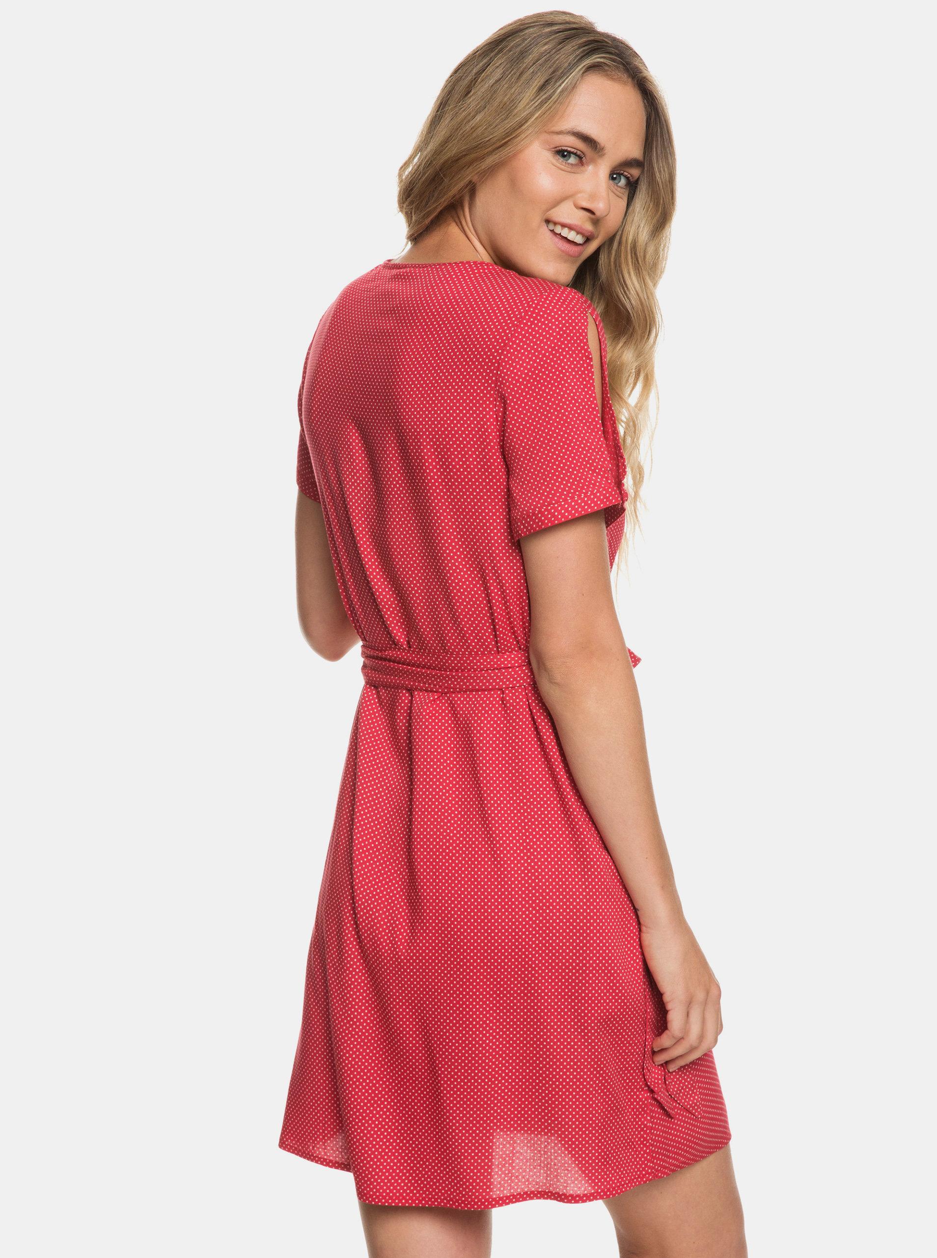 b8f1804f8450 Červené bodkované zavinovacie šaty s prestrihmi Roxy Monument View ...