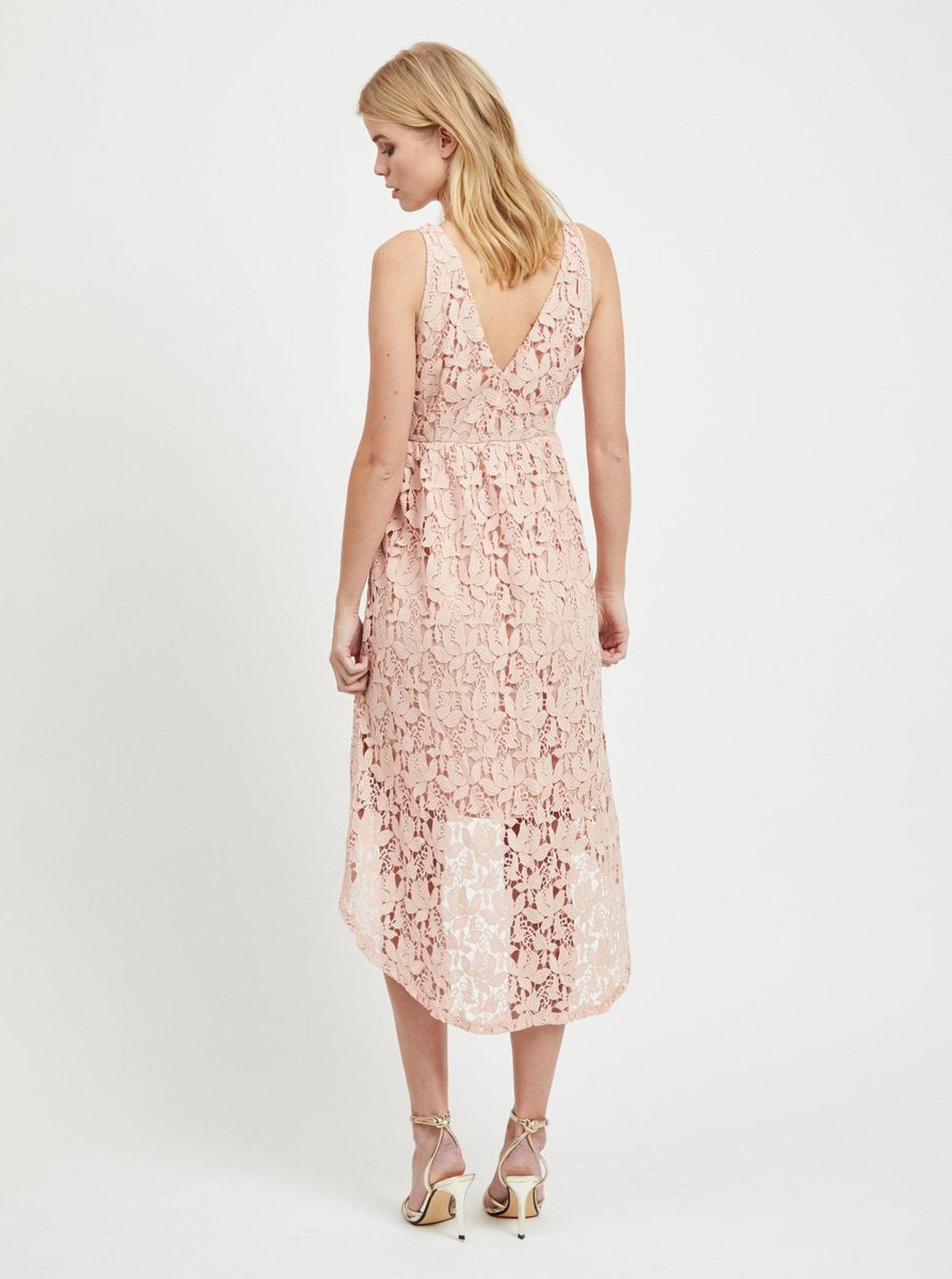 cfe2a01dc7d7 Svetloružové čipkované šaty VILA Kellie ...
