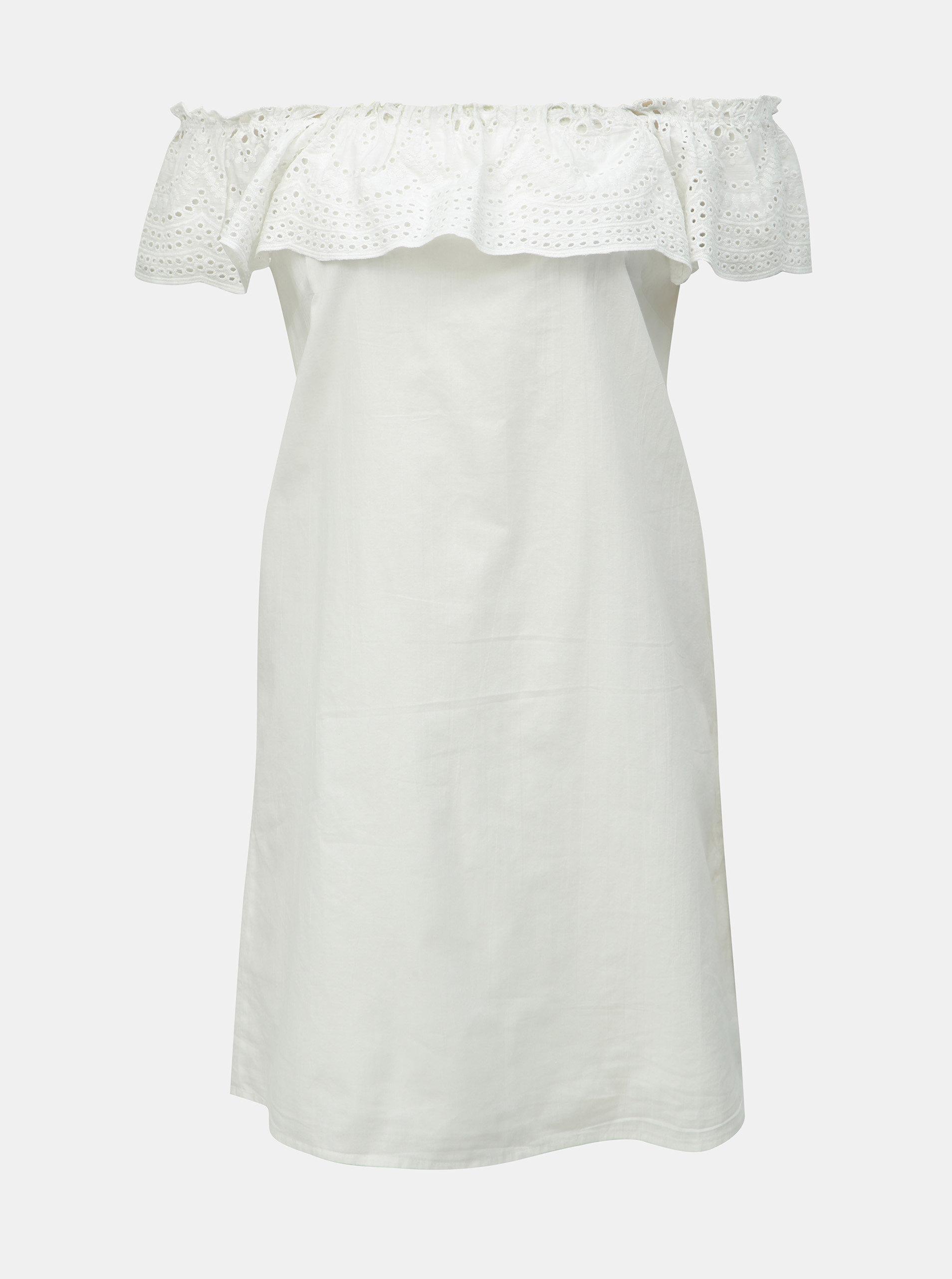 df178816edb3 Biele šaty s madeirou a odhalenými ramenami Dorothy Perkins ...