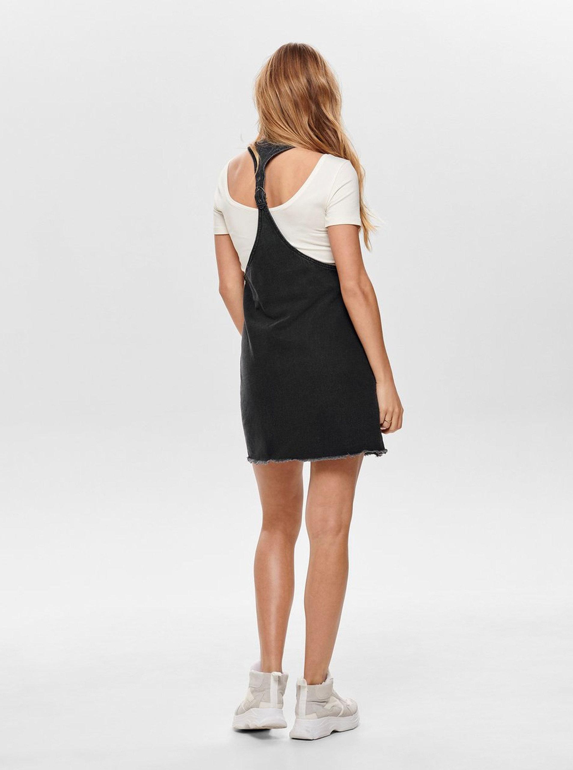 fcfa17478bb0 Tmavosivé rifľové šaty ONLY Tenna ...