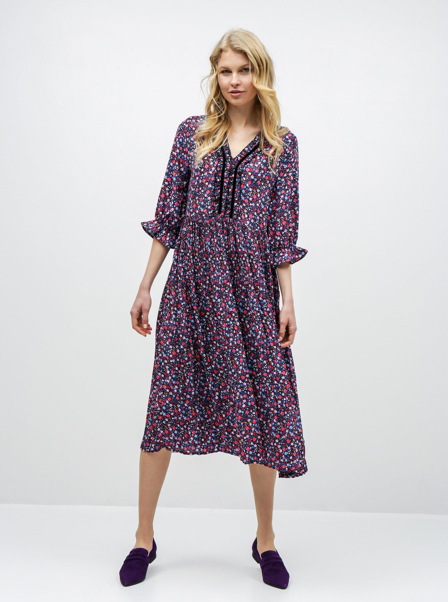 f35055383b9a Ružovo–modré kvetované plisované šaty ONLY Phoebe ...