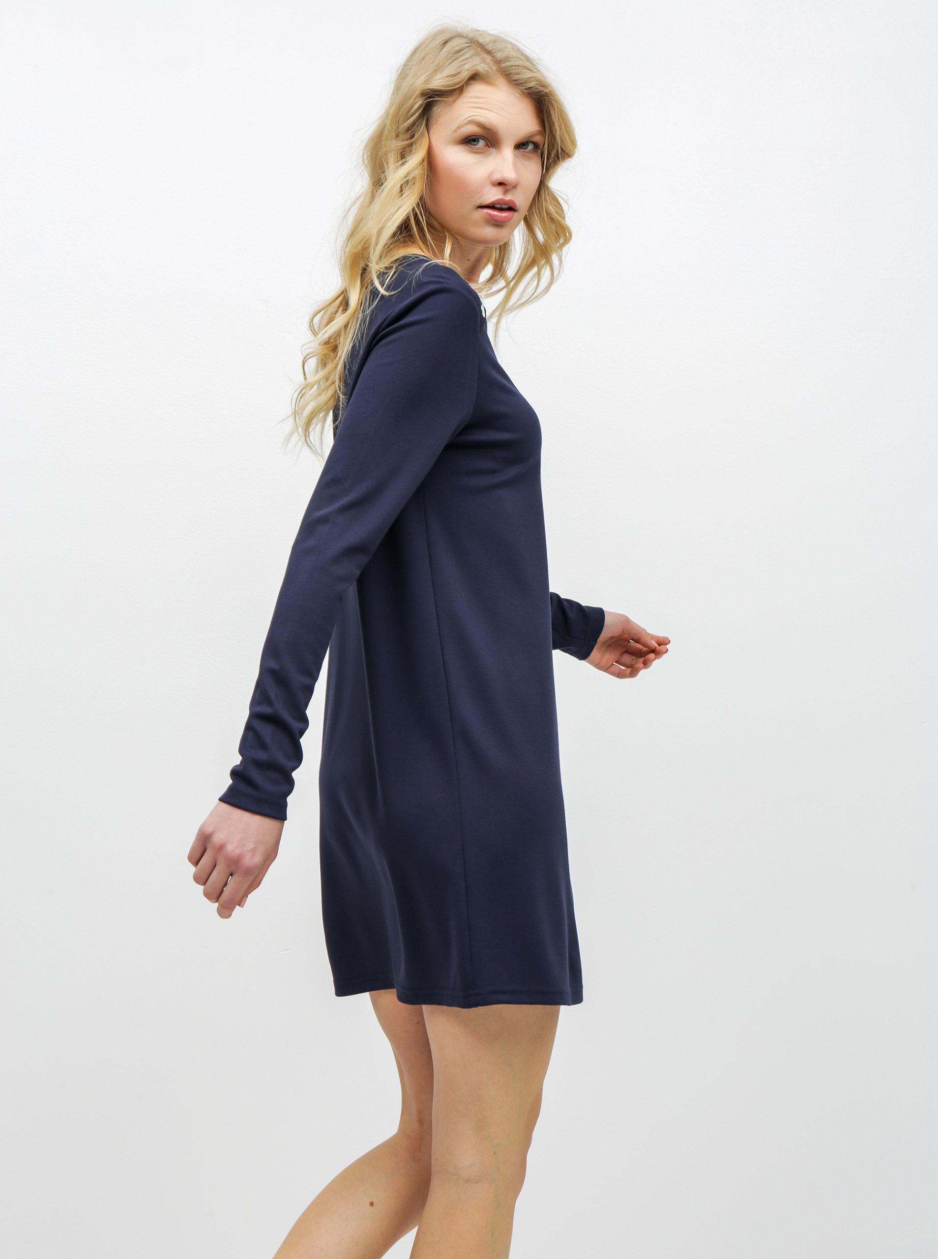 27490632e759 Tmavomodré šaty s dlhým rukávom VERO MODA Tonja ...