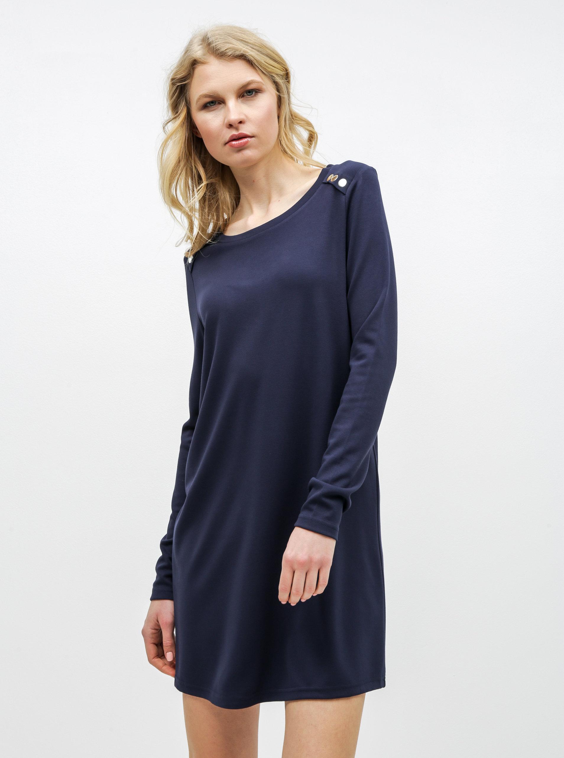 94cb2986971b Tmavomodré šaty s dlhým rukávom VERO MODA Tonja ...