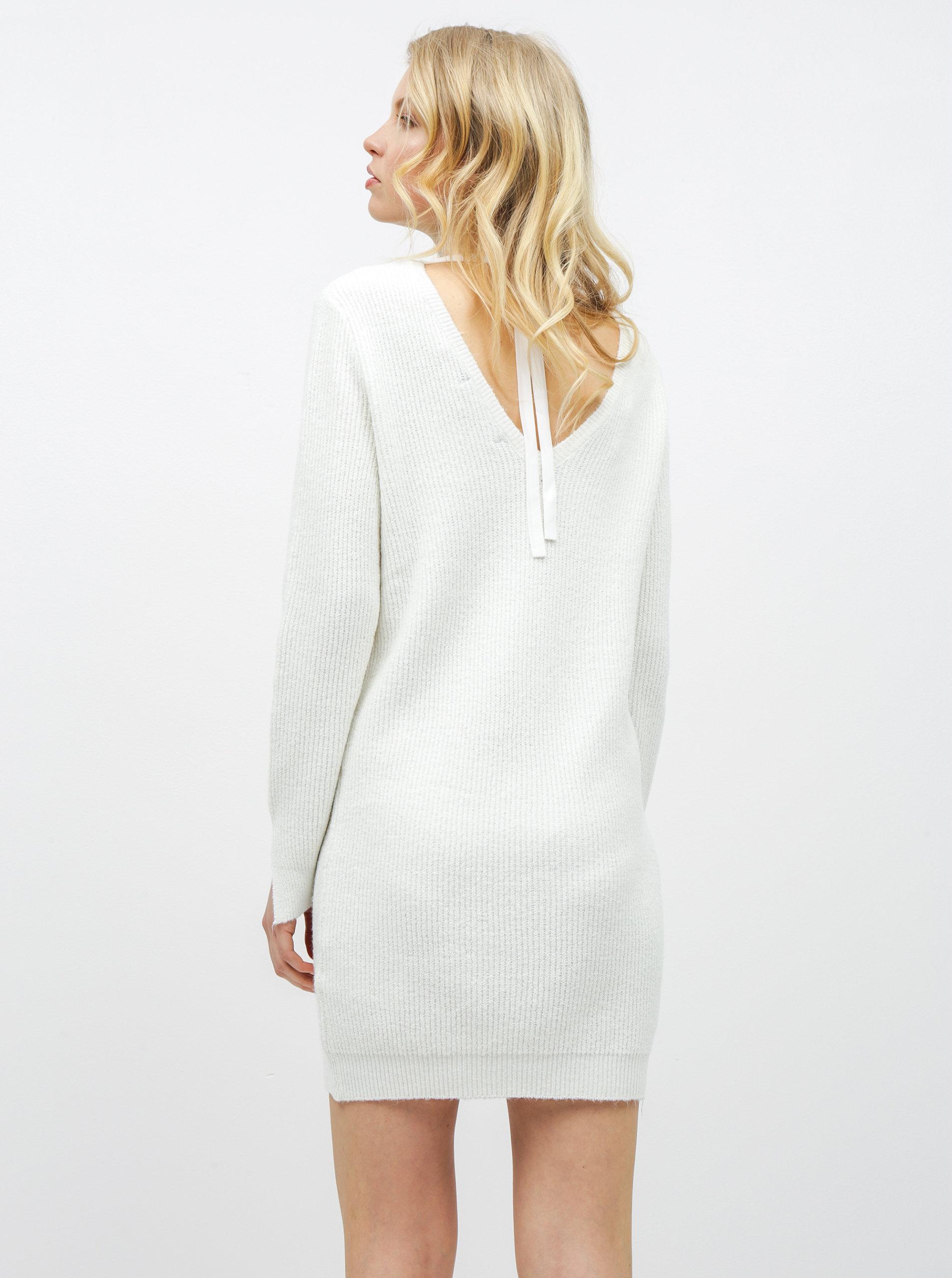 4b3401db148f Krémové svetrové šaty s výstrihom na chrbte VERO MODA Doffy ...