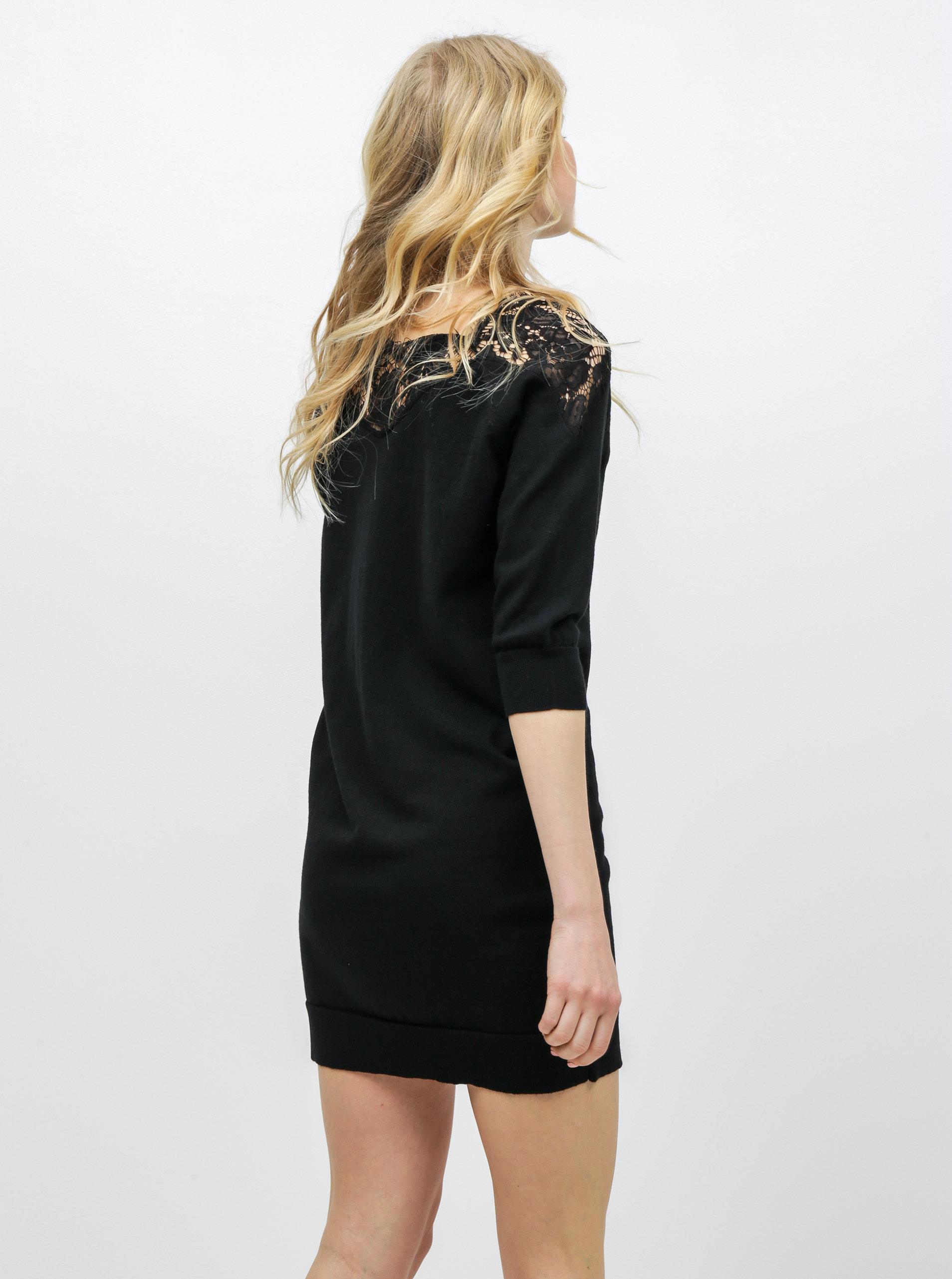 4cc465512eca Čierne svetrové šaty s čipkou ONLY Ally ...