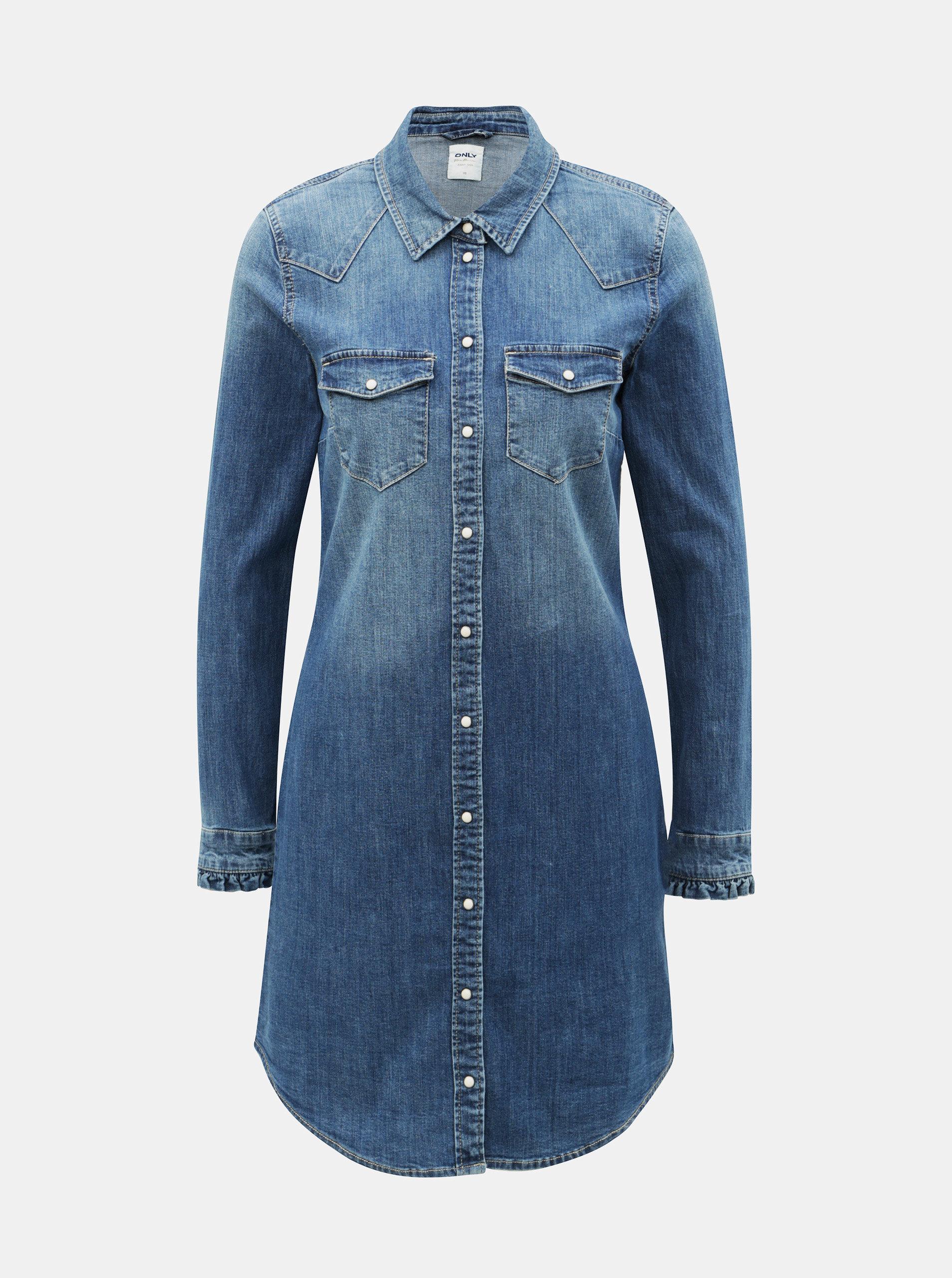 3e55d571a2ce Modré džínové košilové šaty ONLY Wendy ...
