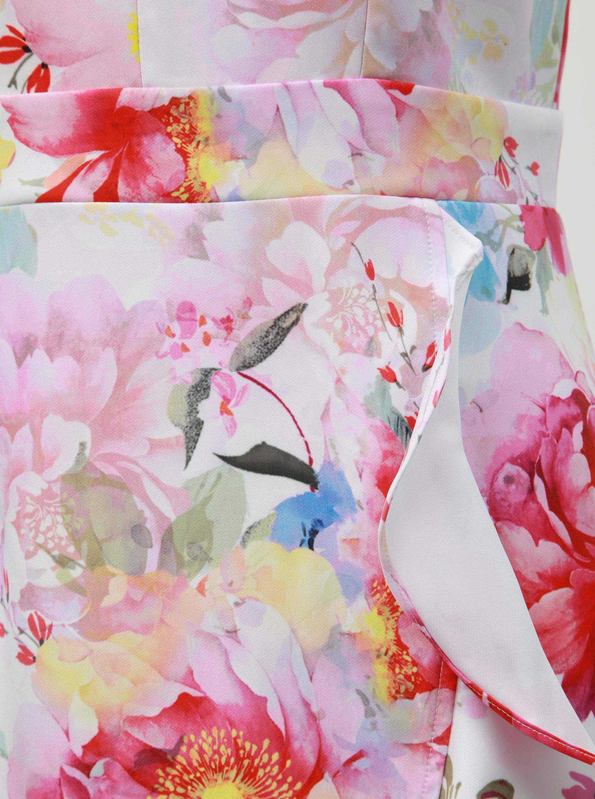 e931c67d2755 Biele kvetované puzdrové šaty s volánom Dorothy Perkins ...