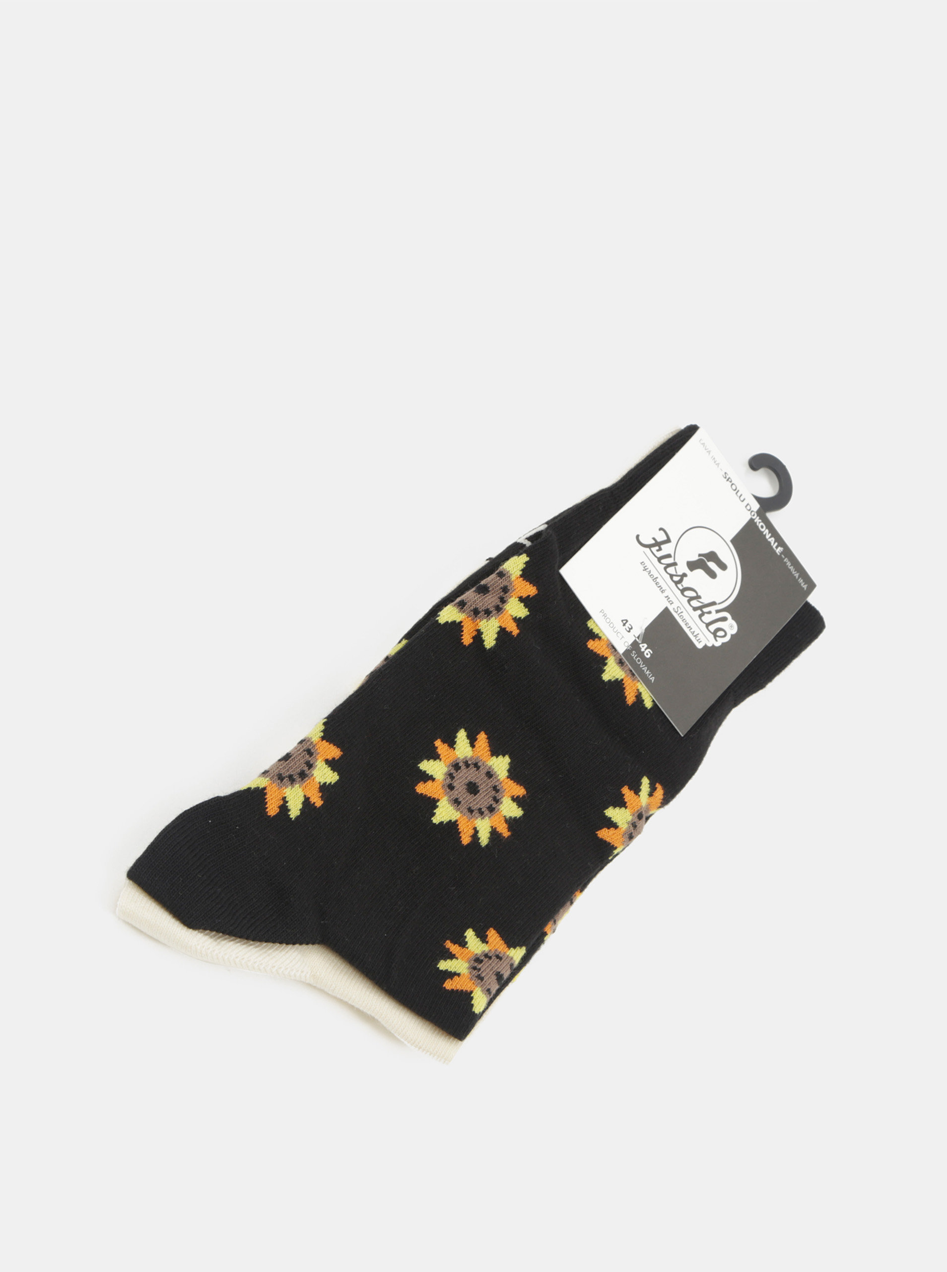 5c3a53faaf1c Béžovo-čierne unisex ponožky s motívom slnečníc Fusakle Slnečnice ...