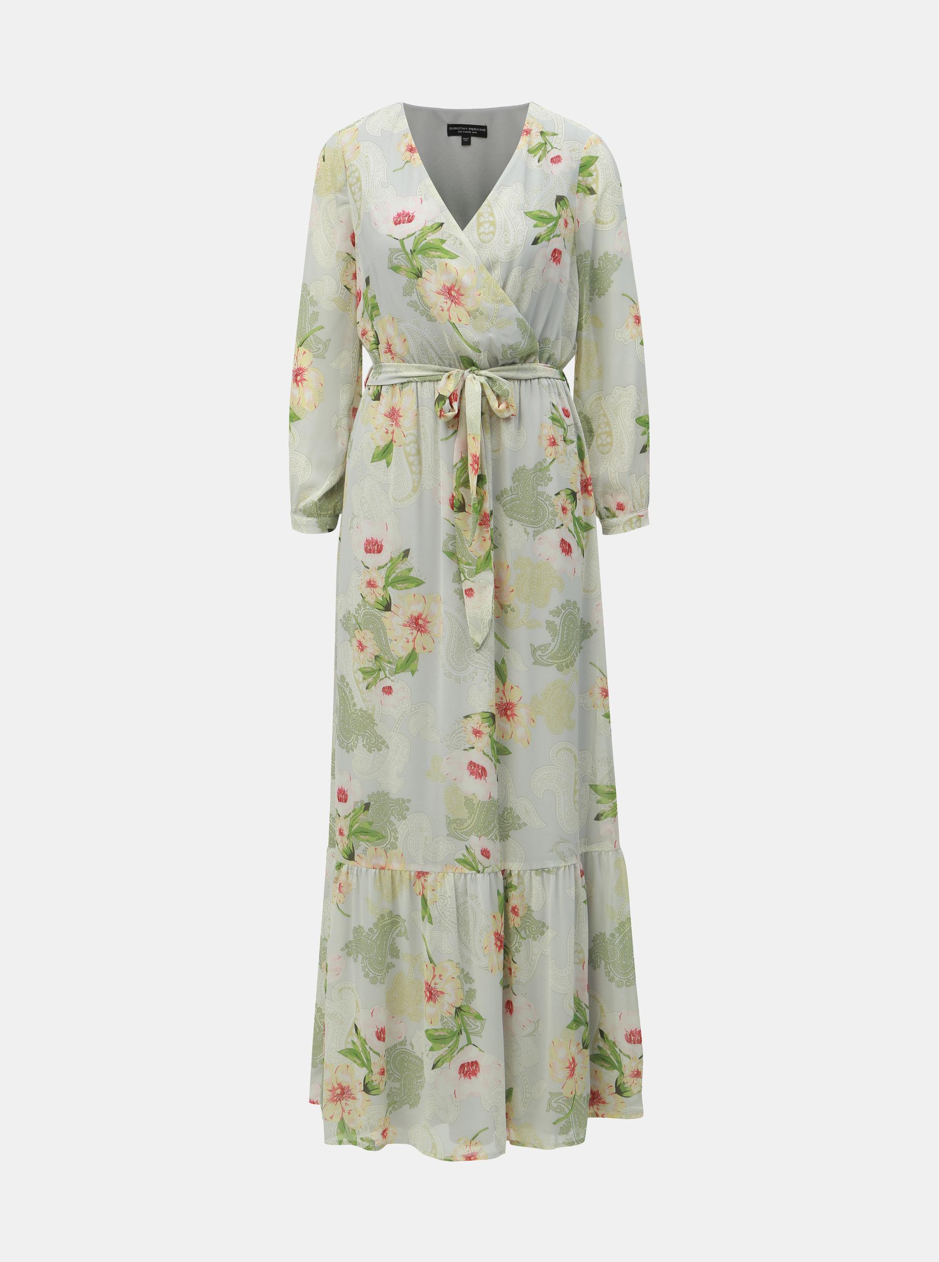 74cbb6df9e10 Svetlozelené kvetované maxišaty Dorothy Perkins ...
