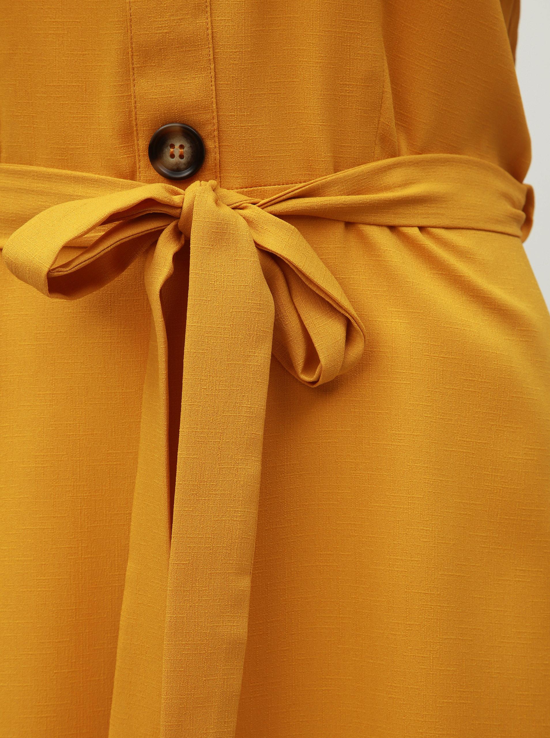 4de79cd60da4 Horčicové šaty s odhalenými ramenami Dorothy Perkins ...