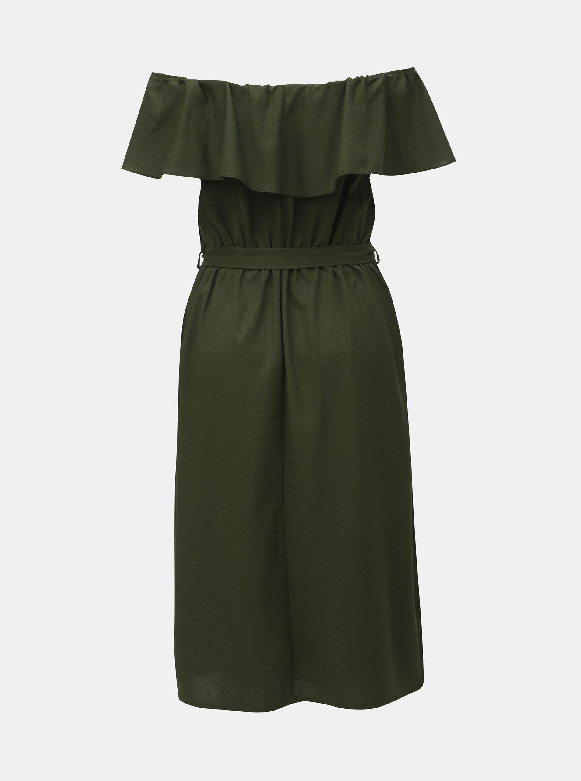 00784cab976b Tmavozelené šaty s odhalenými ramenami Dorothy Perkins ...
