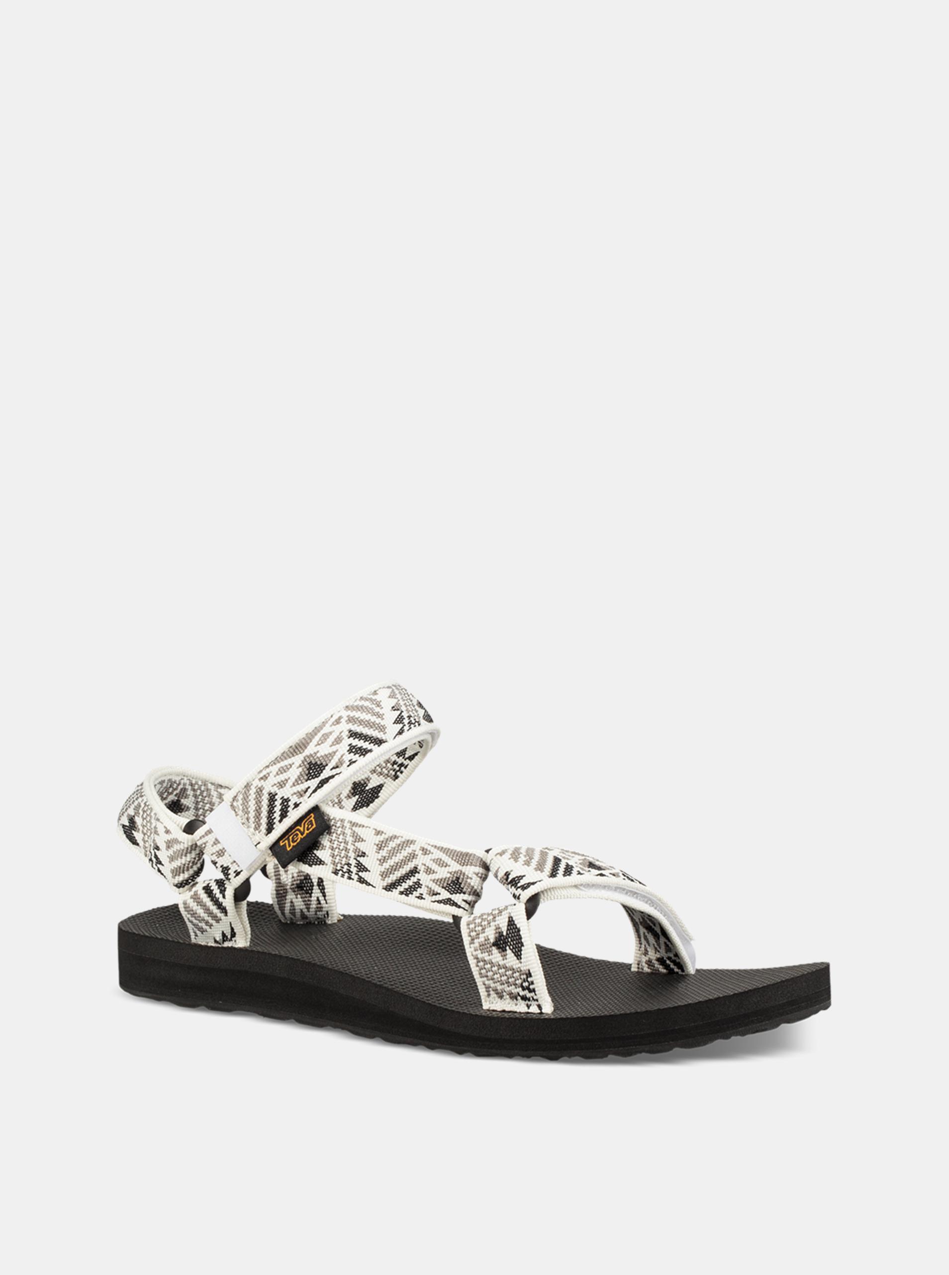 6974bcdf9283 Sivo–biele dámske vzorované sandále Teva ...