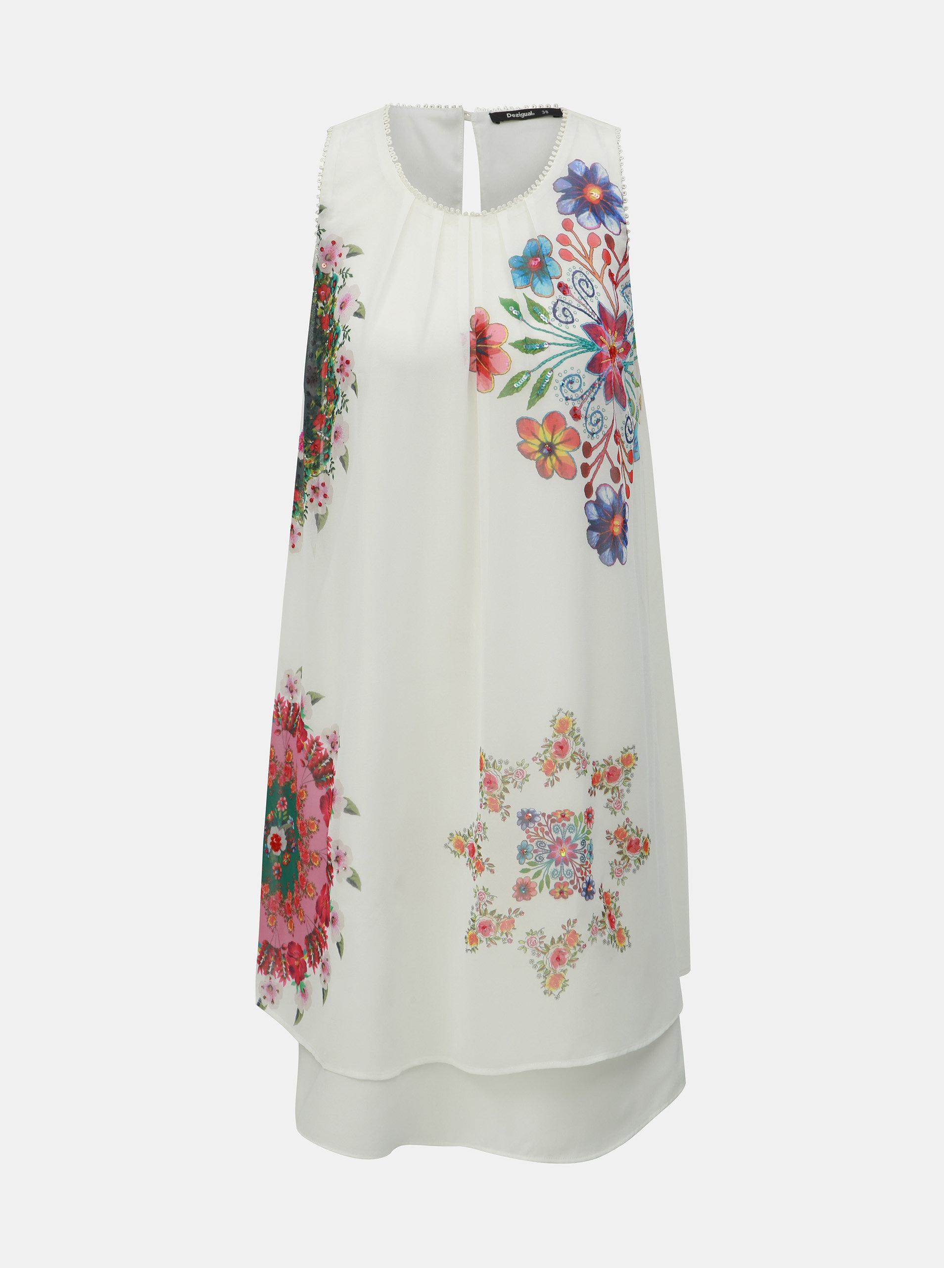 ad23428dad54 Biele kvetované šaty Desigual Sacha ...