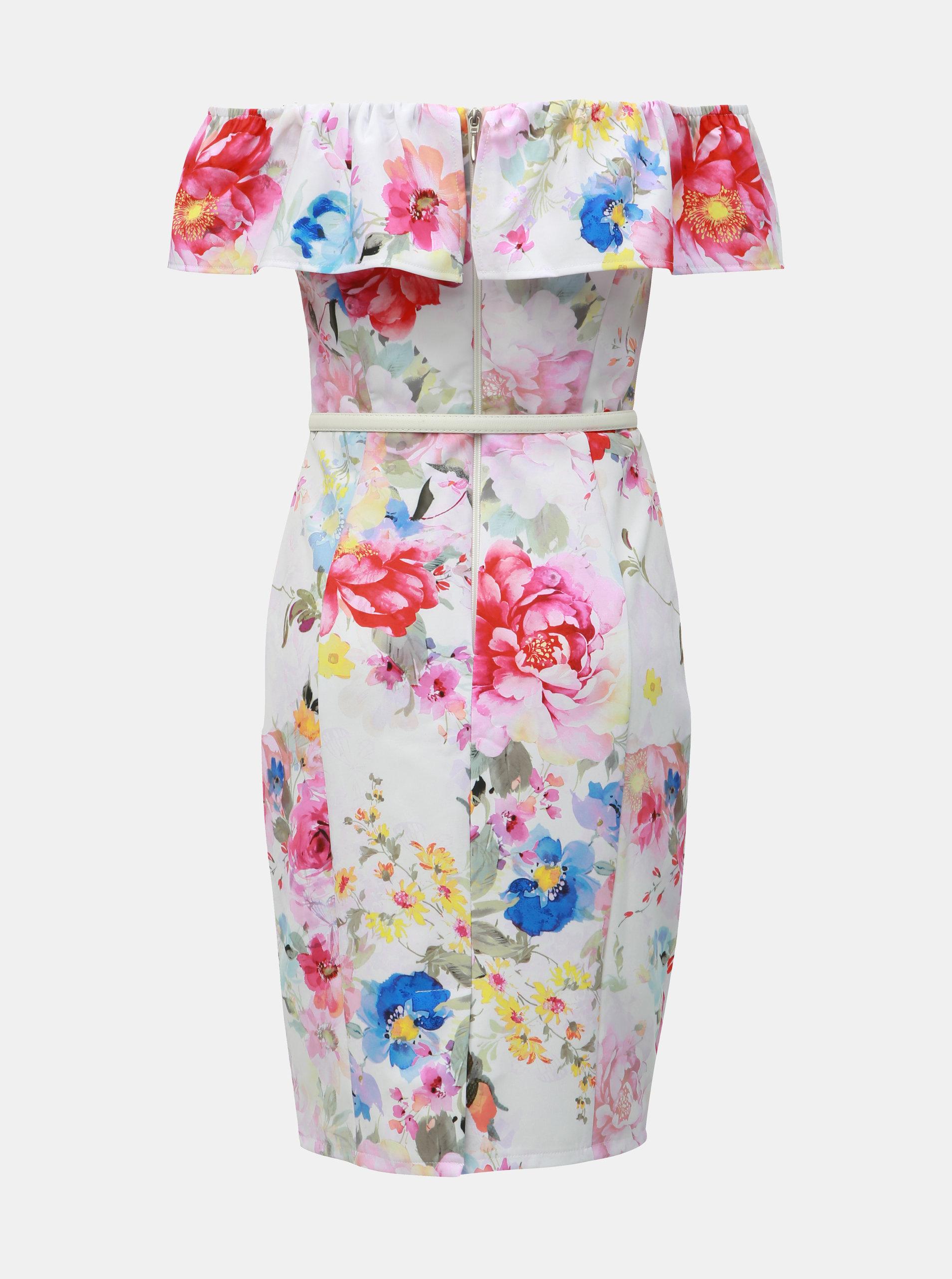 318a340e190a Biele kvetované puzdrové šaty s odhalenými ramenami Dorothy Perkins ...