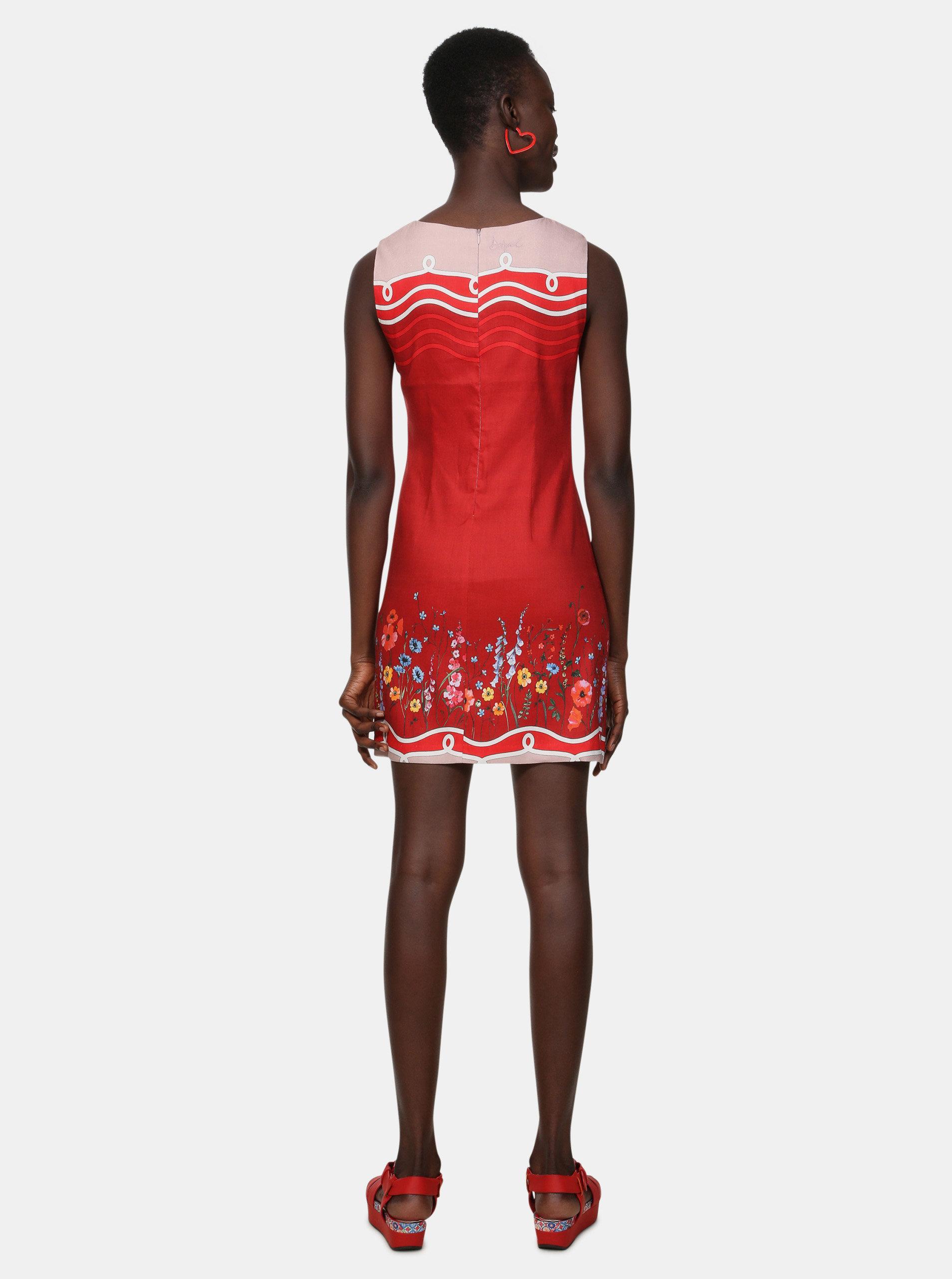 2476324de90f Červené kvetované ľanové šaty Desigual Patrice ...