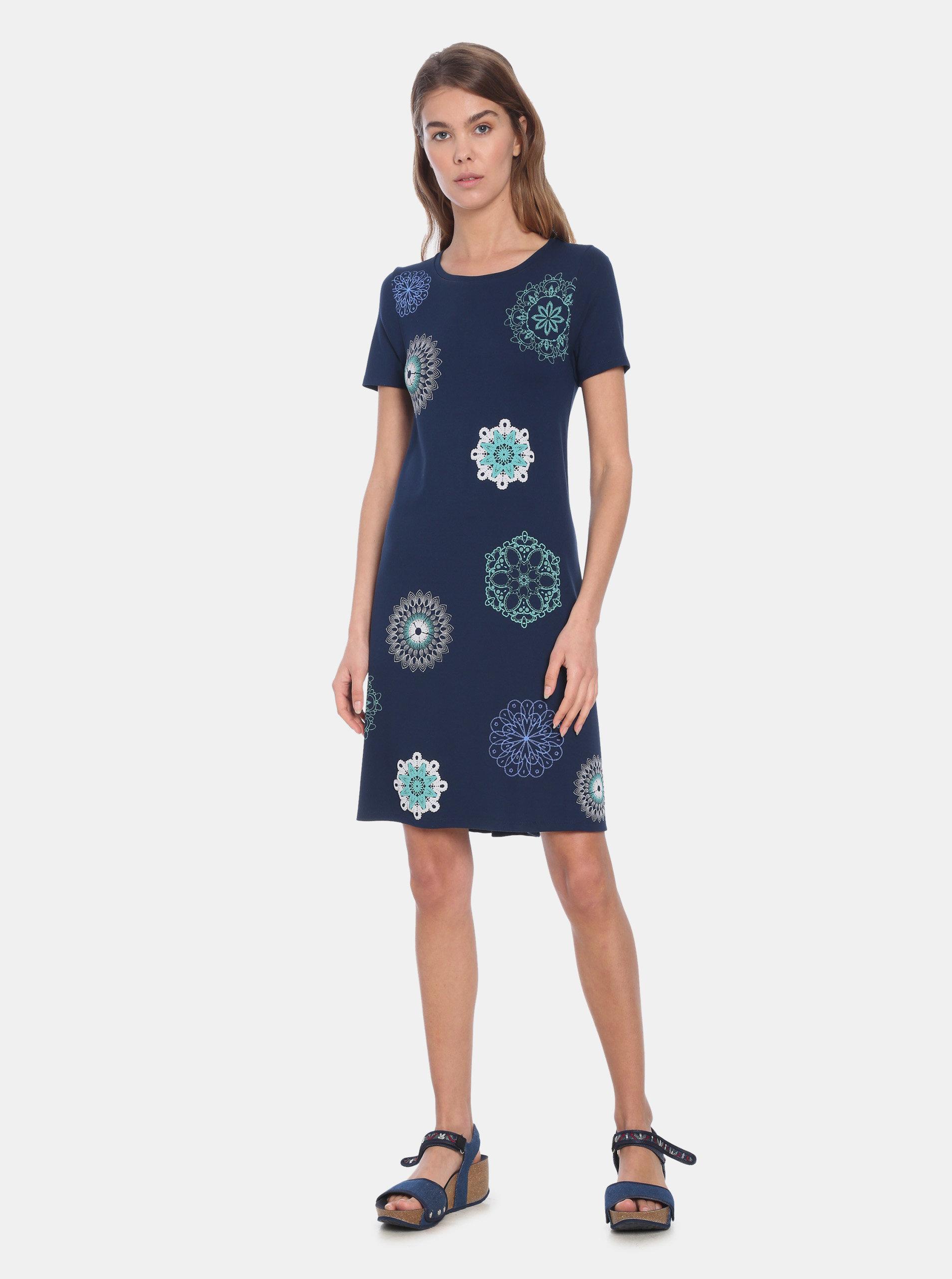 b51398154184 Tmavě modré šaty s potiskem Desigual Liricaa ...