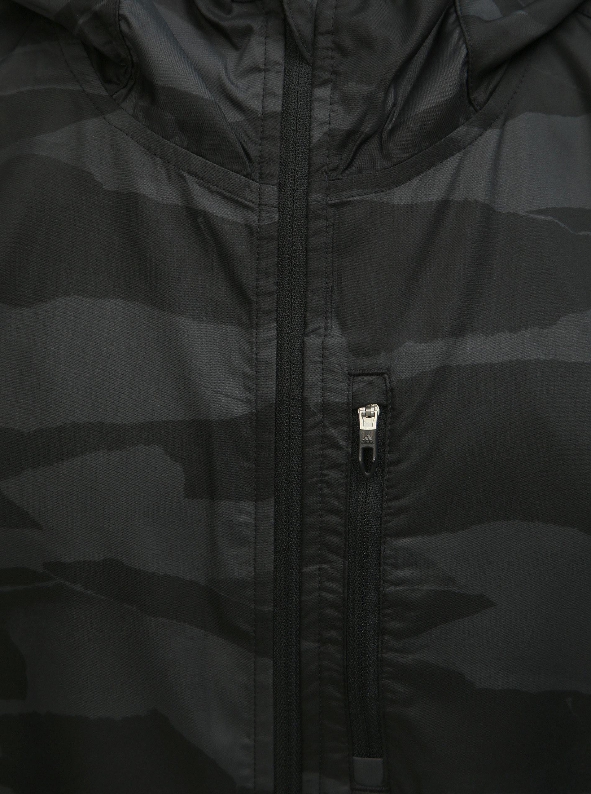 019140283 Šedo-černá pánská vzorovaná bunda adidas Performance Own The Run ...