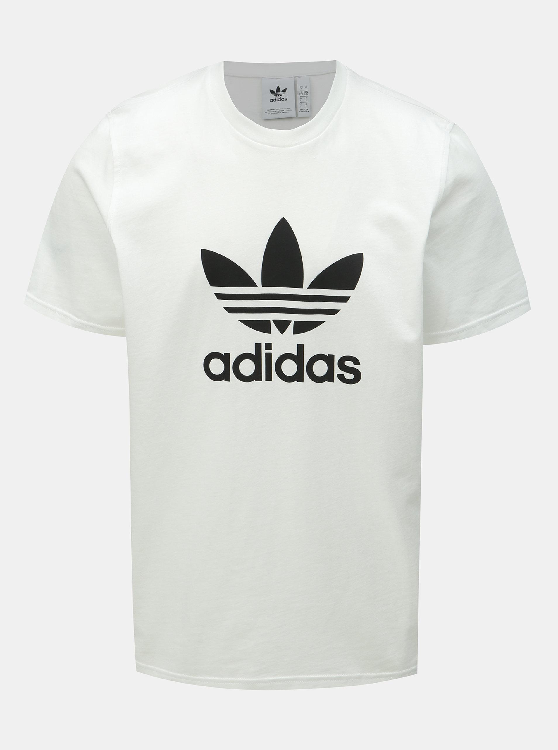 0dffe11d8f30 Biele pánske tričko s potlačou adidas Originals Trefoil ...