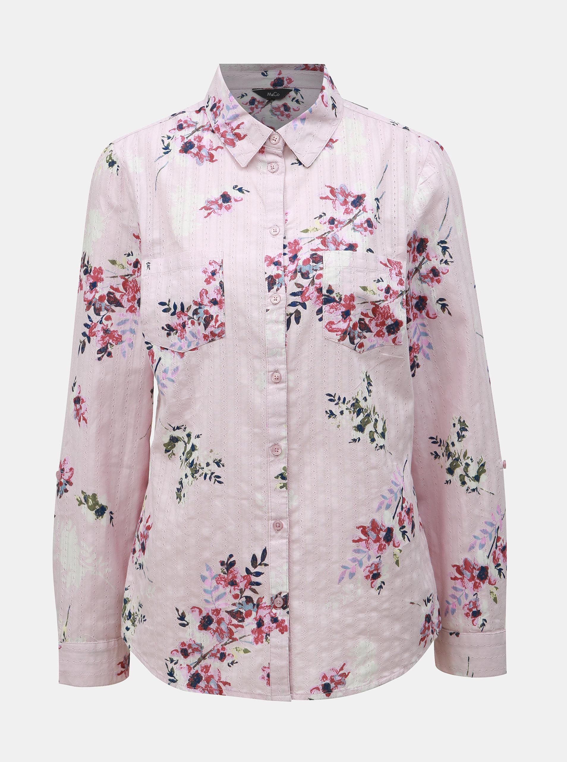 b39d32f68637 Ružová kvetovaná košeľa M Co ...